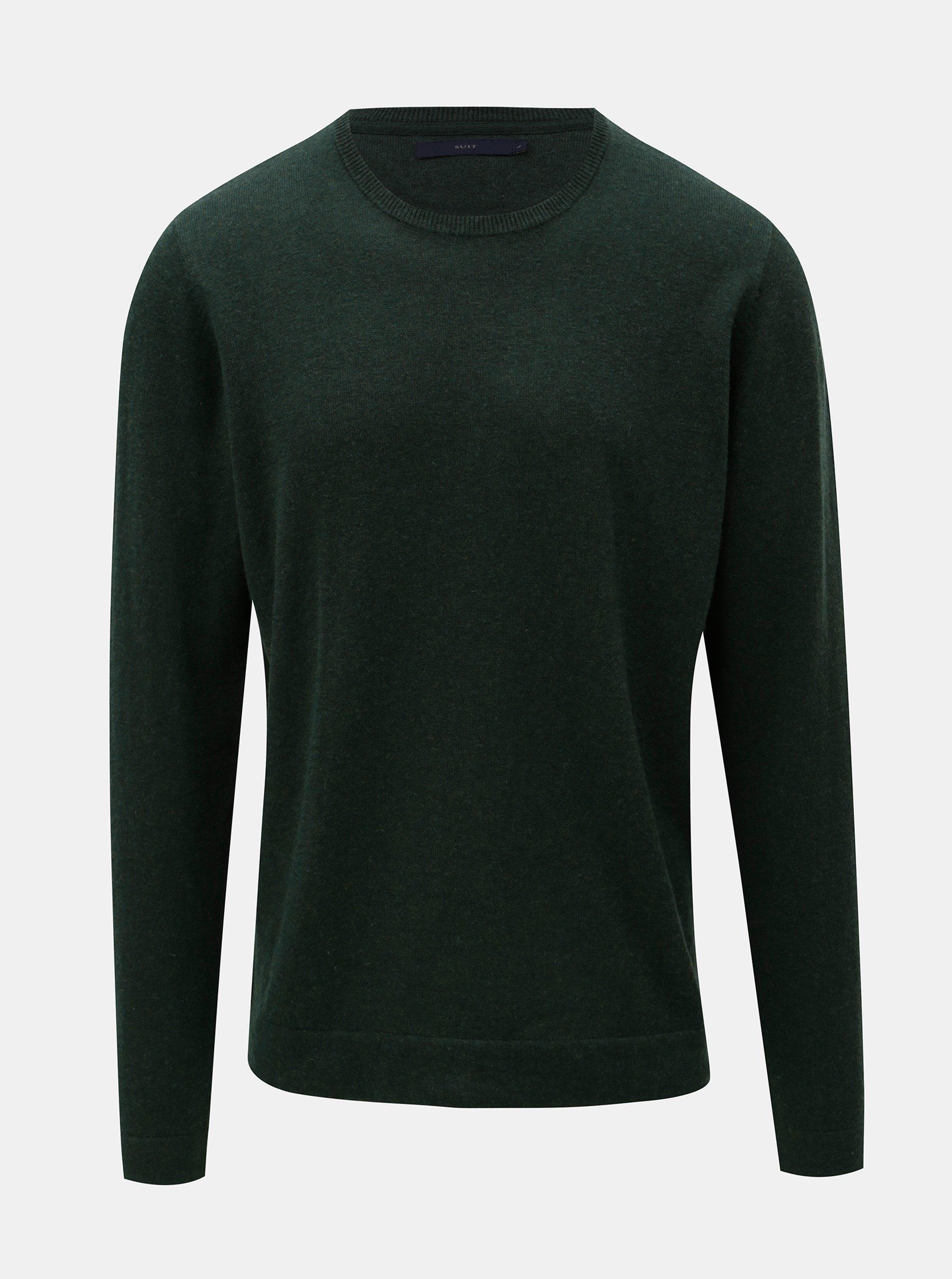 Tmavě zelený vlněný svetr SUIT Clyde