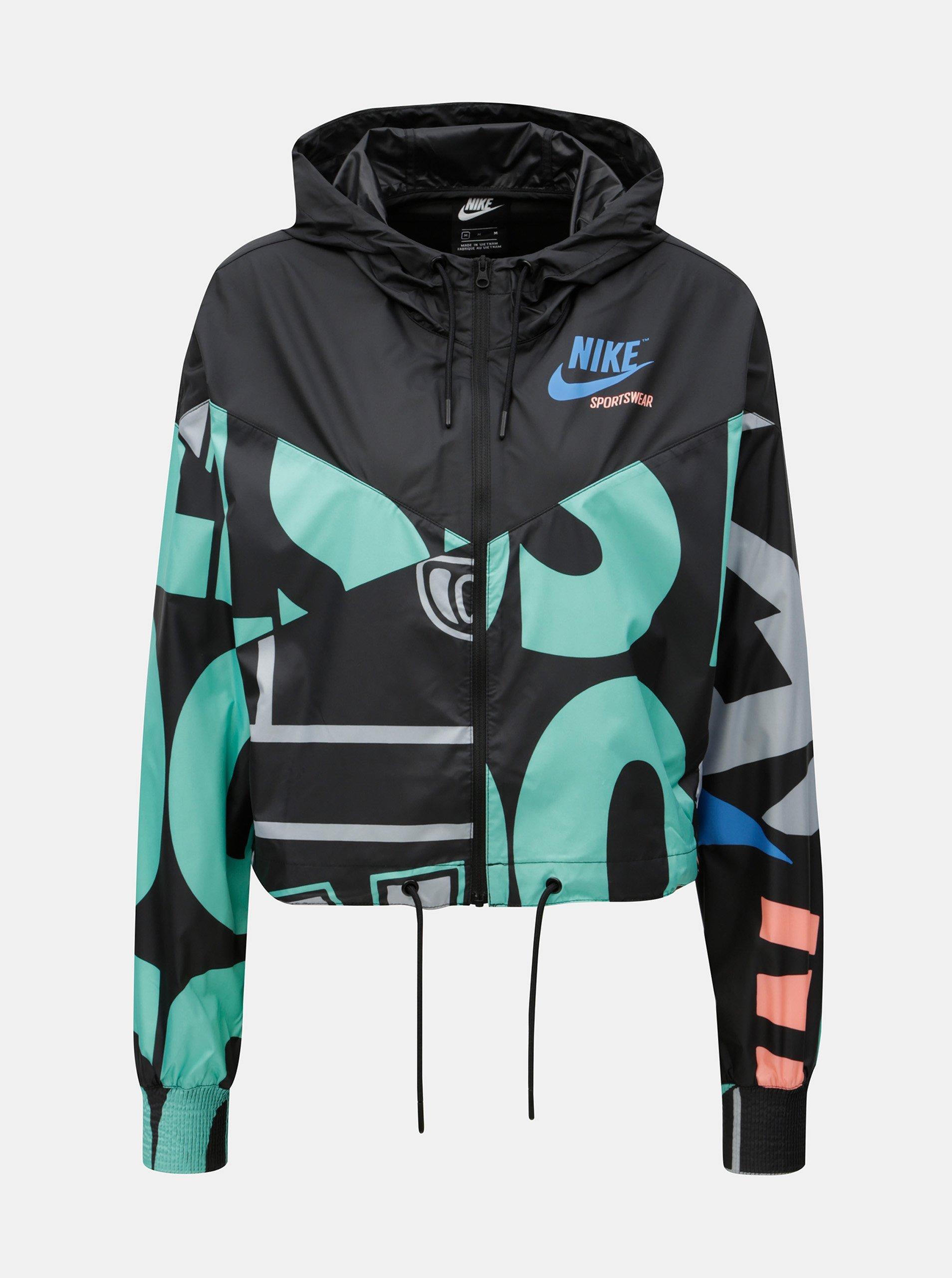 Zeleno-čierna dámska krátka vzorovaná bunda Nike 6852a4fa8d2