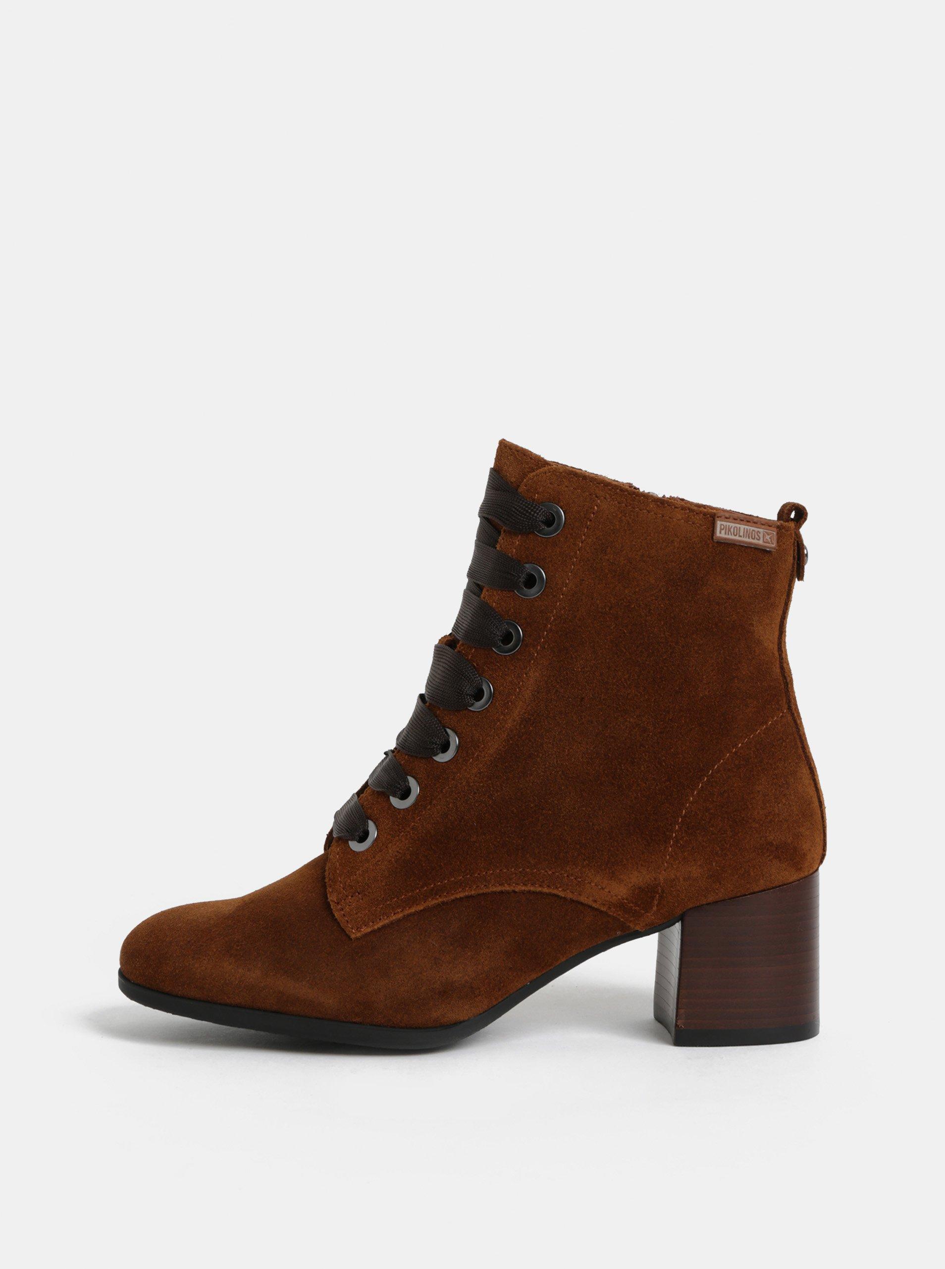 Hnědé semišové kotníkové boty Pikolinos Brandy