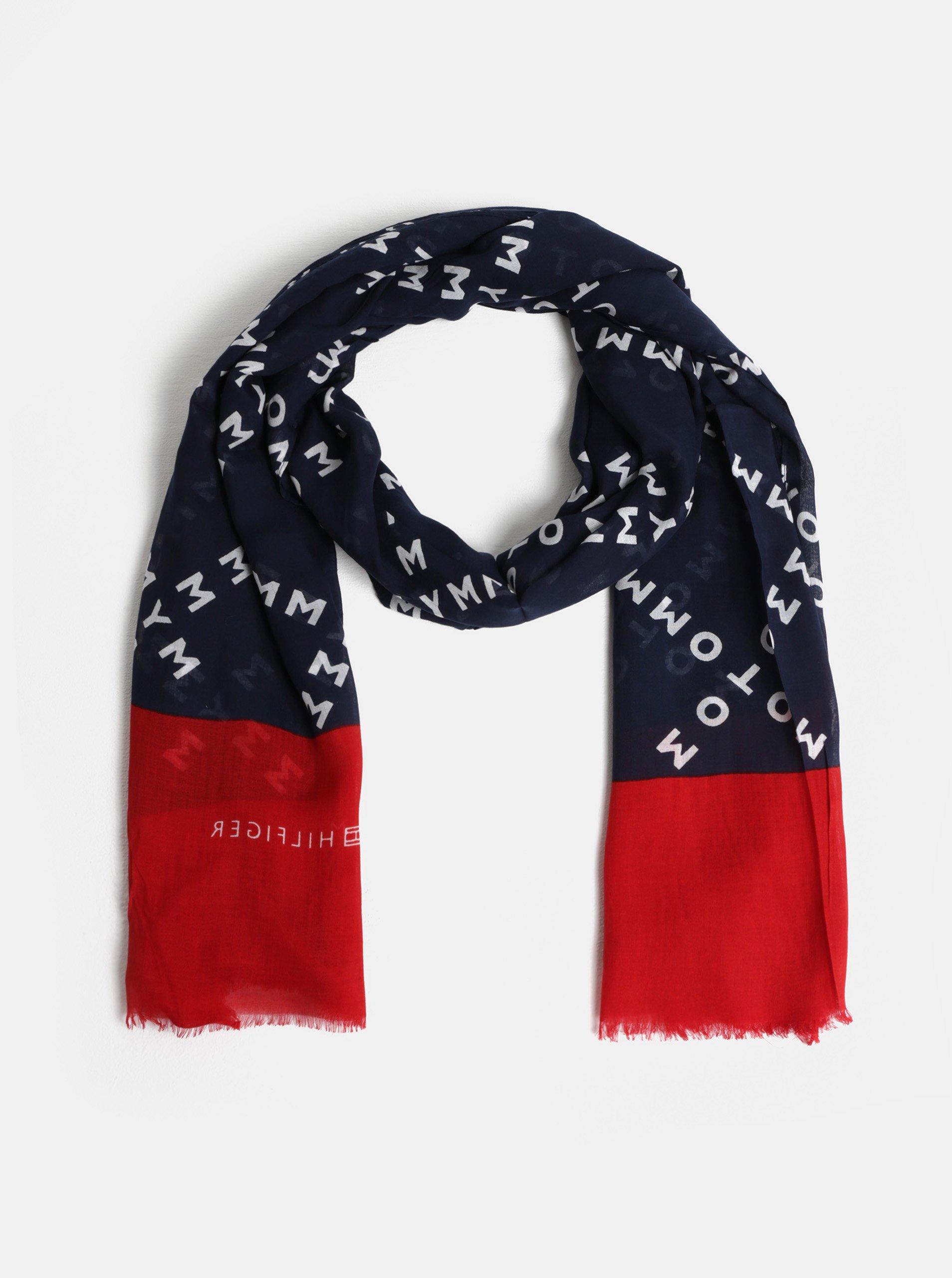 červeno-modrý šátek Tommy Hilfiger Corporate