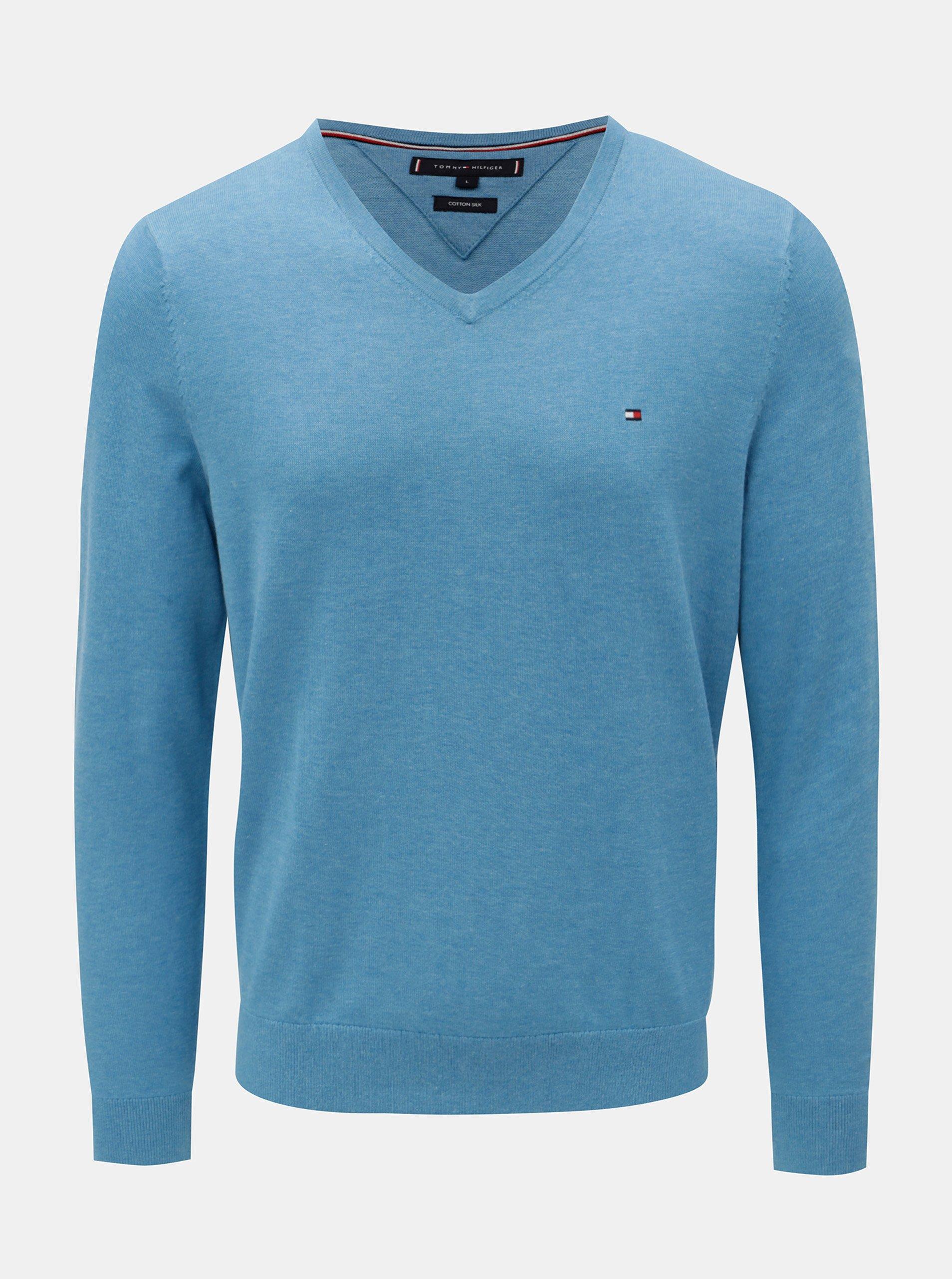 6fd1768ca8 Modrý pánsky melírovaný sveter s prímesou hodvábu Tommy Hilfiger Silk