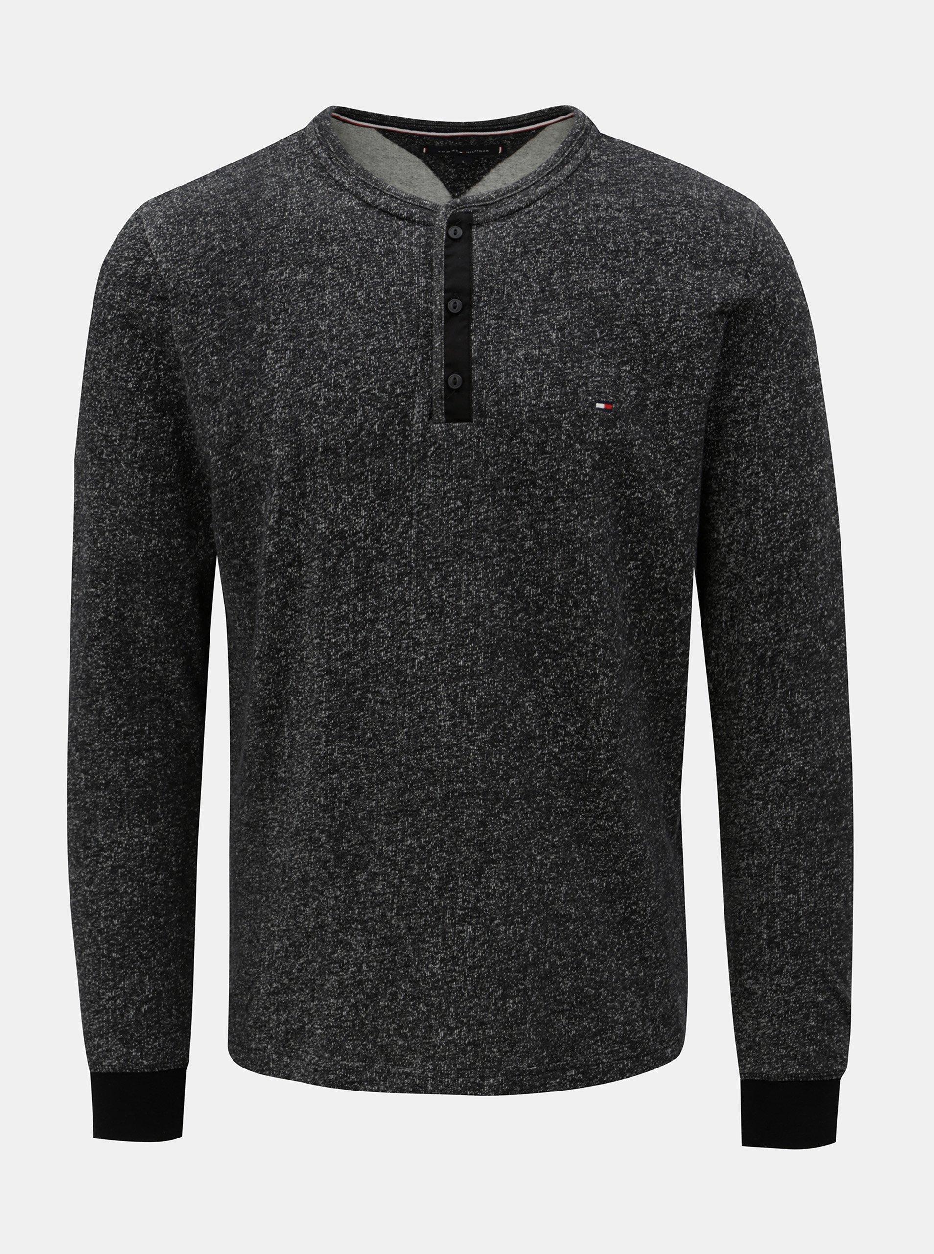 Černé pánské žíhané tričko Tommy Hilfiger Henley
