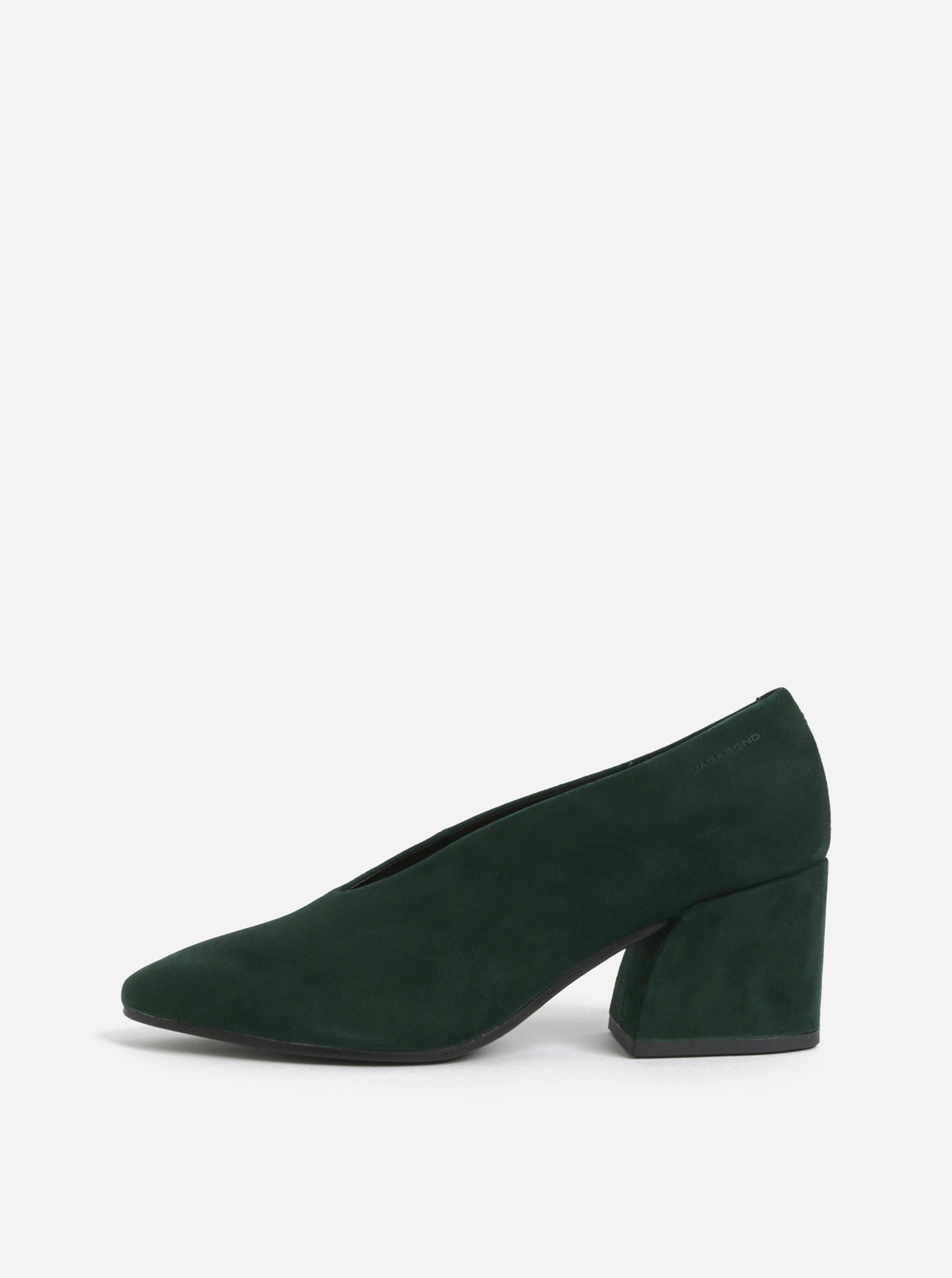 Zelené semišové lodičky na podpatku Vagabond Olivia