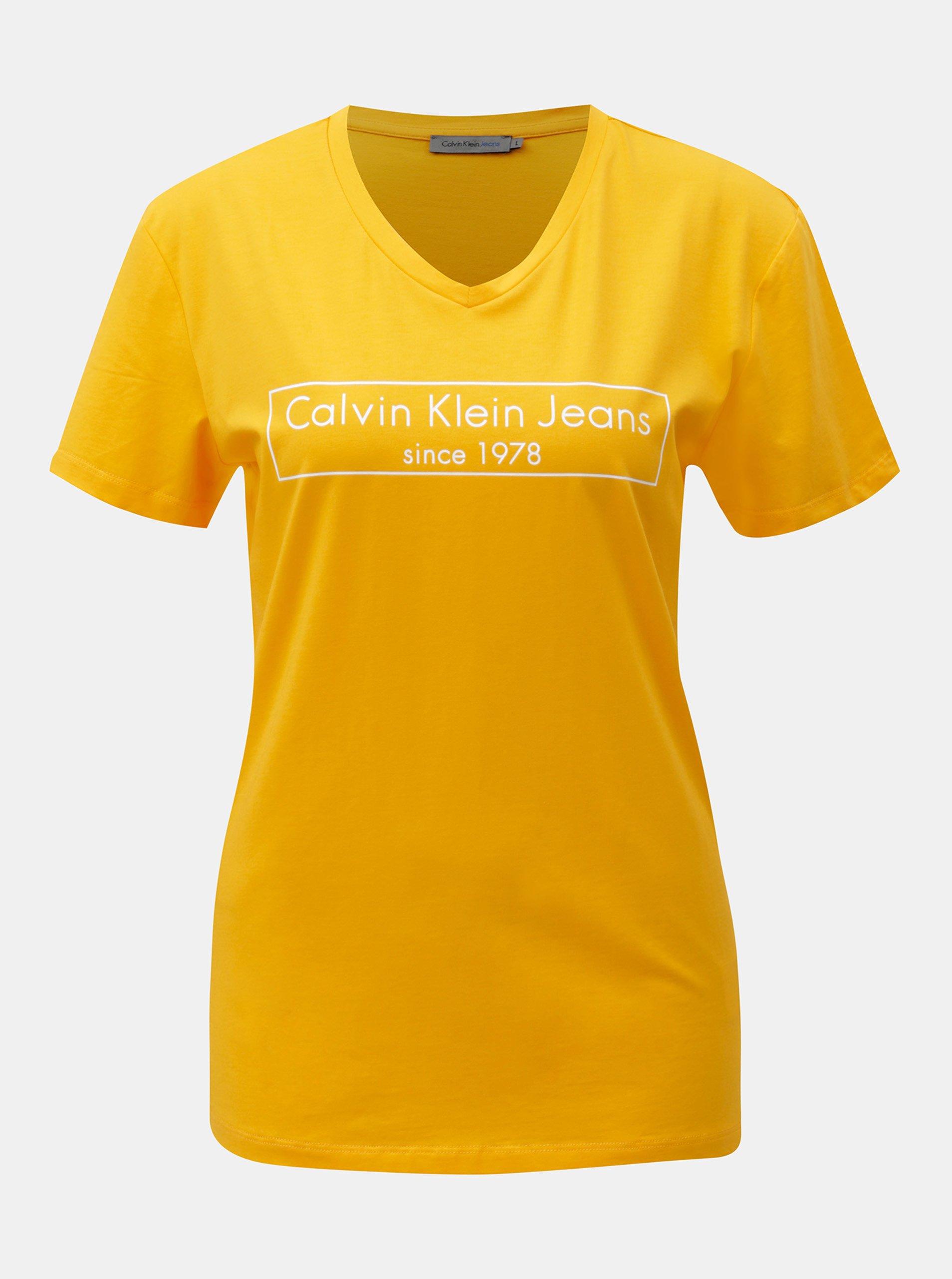 02afbdfe9a3b Žlté dámske tričko s potlačou Calvin Klein Jeans
