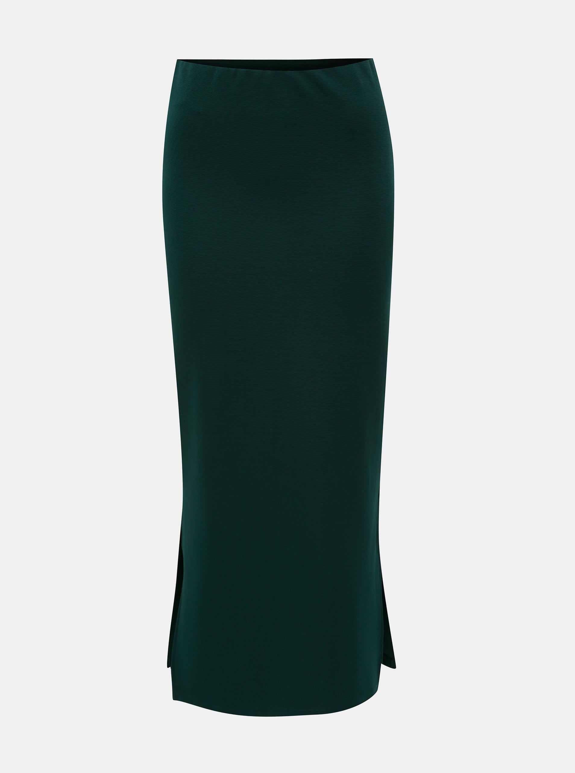 Tmavě zelená pouzdrová sukně s rozparky Noisy May