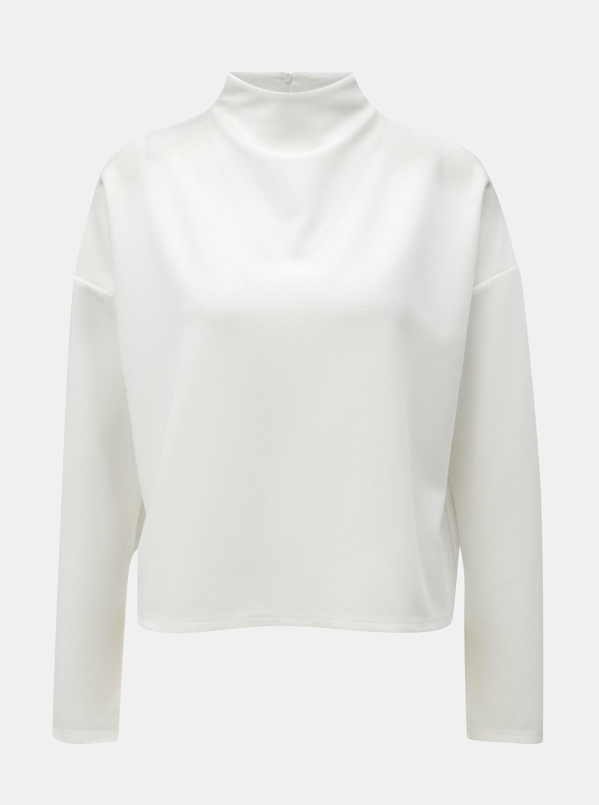 Bílé strukturované volné tričko se stojáčkem Noisy May