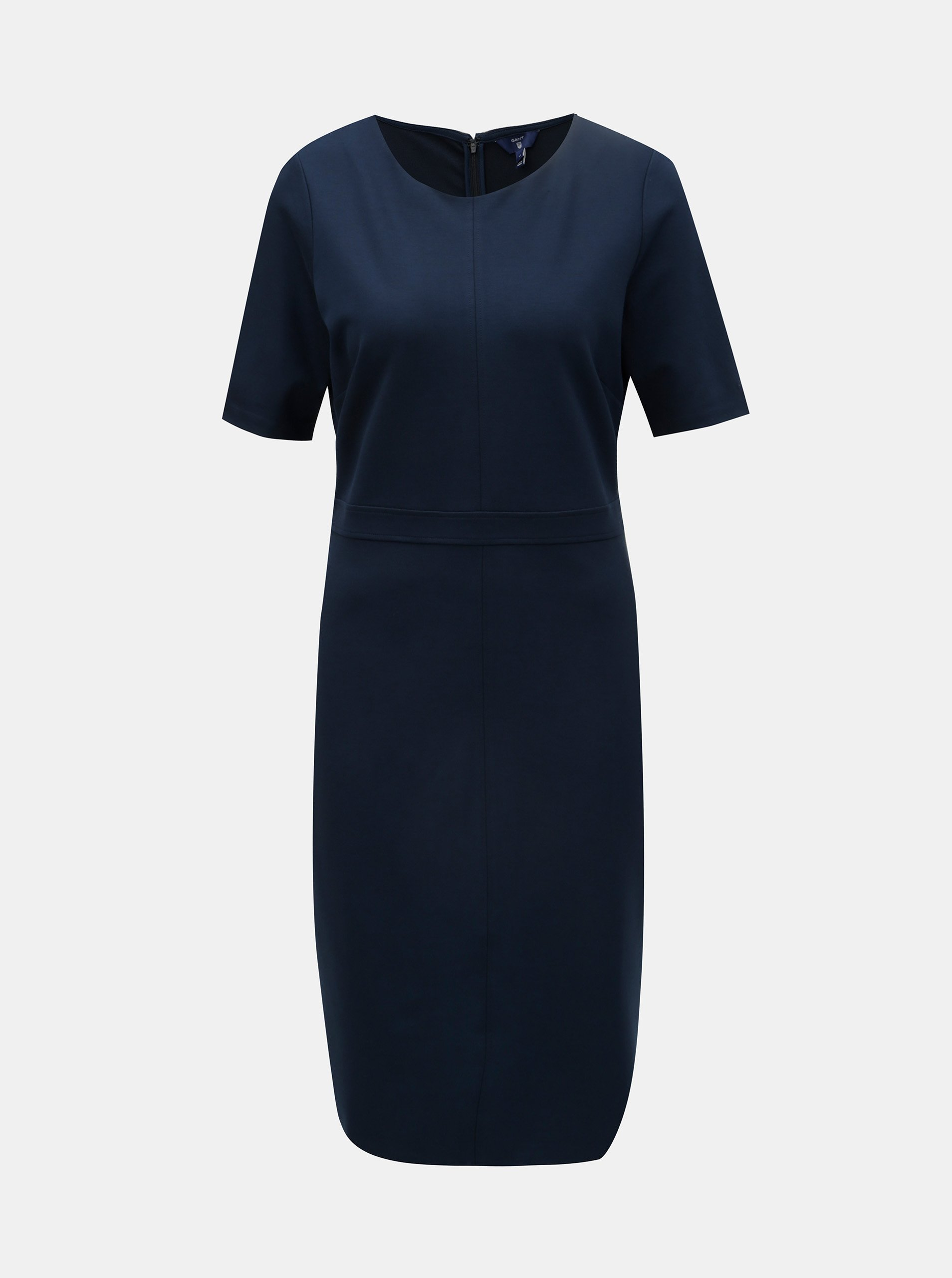 95103c8a47f Tmavě modré pouzdrové šaty s krátkým rukávem GANT