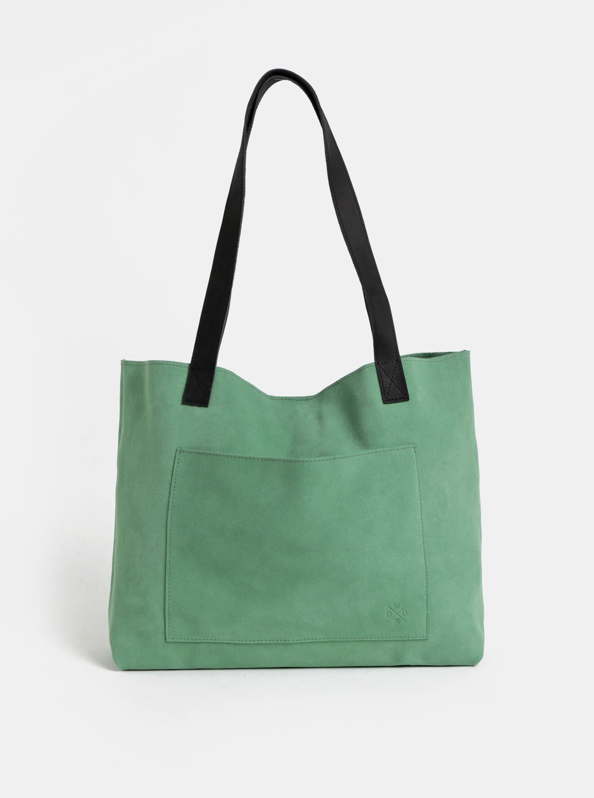 Světle zelený semišový shopper WOOX