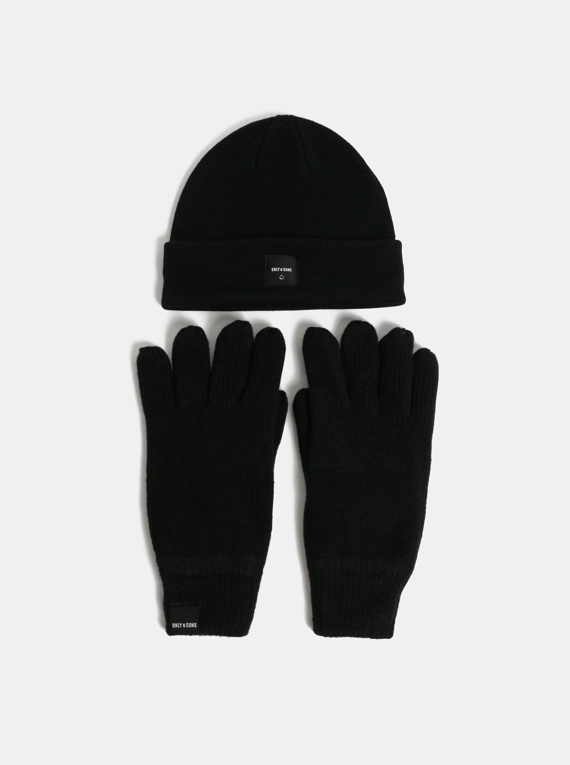 Súprava čiapky a rukavíc v čiernej farbe ONLY & SONS X-box