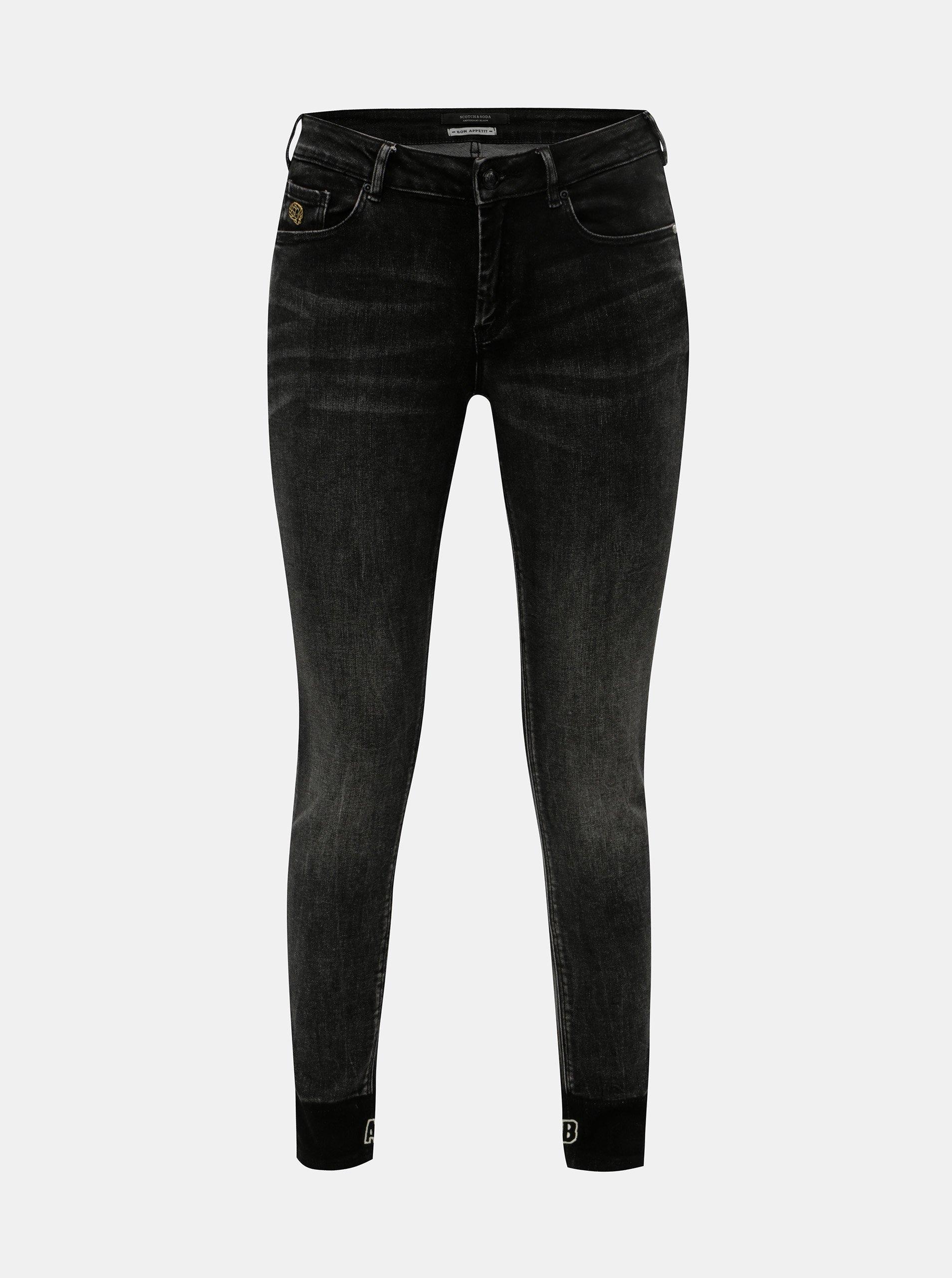 Černé dámské vyšisované skinny džíny Scotch & Soda