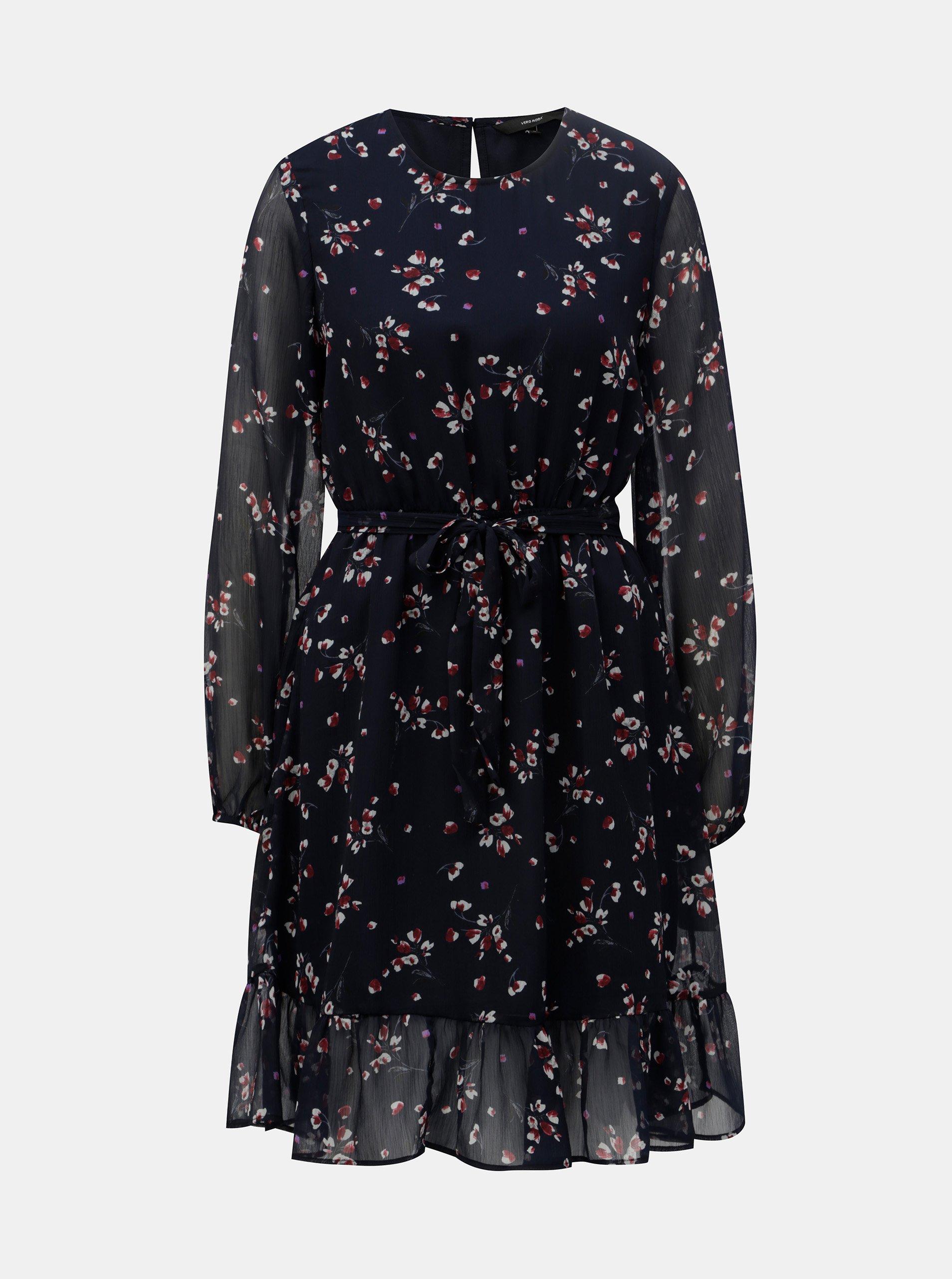 Tmavomodré kvetované šaty VERO MODA Maya