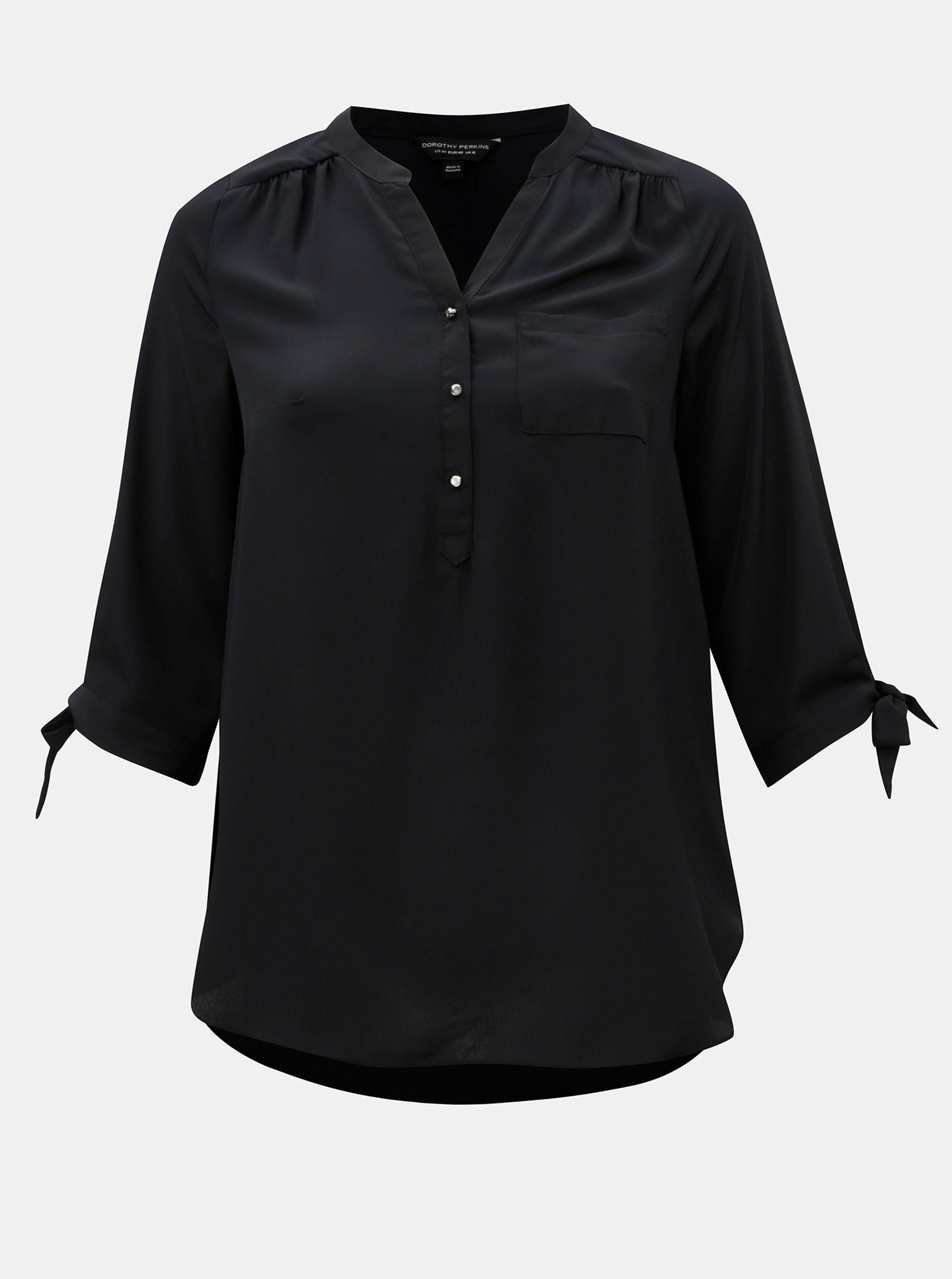 6fa8d3cb953b Čierna košeľa s 3 4 rukávom Dorothy Perkins Curve