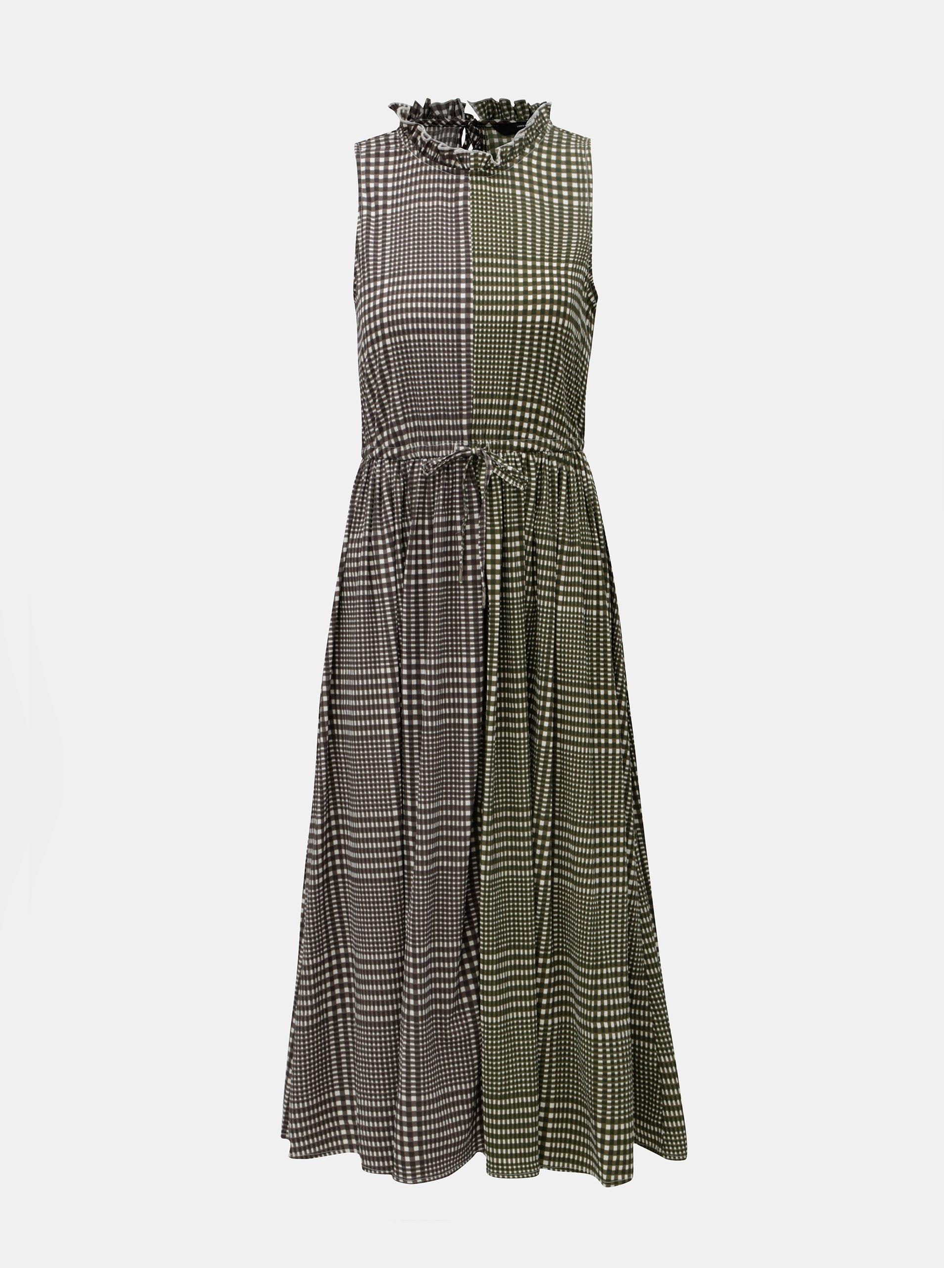 Sivo-zelené kockované šaty VERO MODA Dorothy