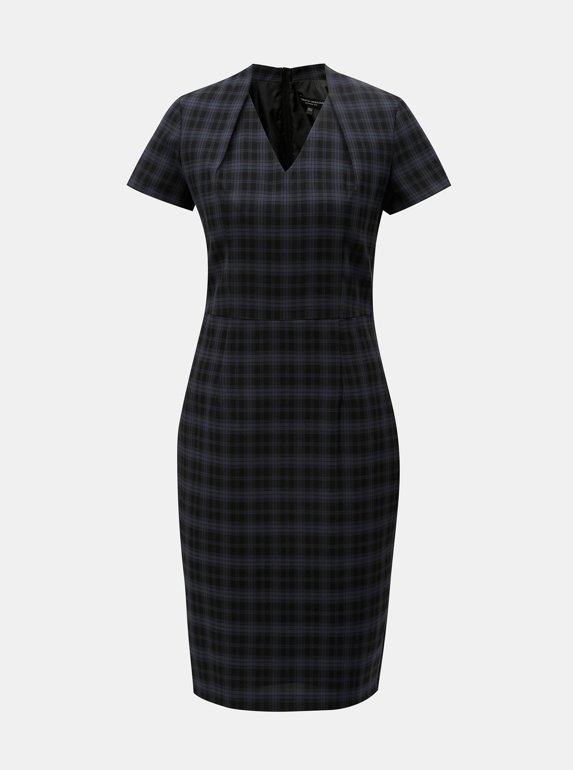 Modro-černé kostkované pouzdrové šaty s krátkým rukávem Dorothy Perkins 3b13602350c