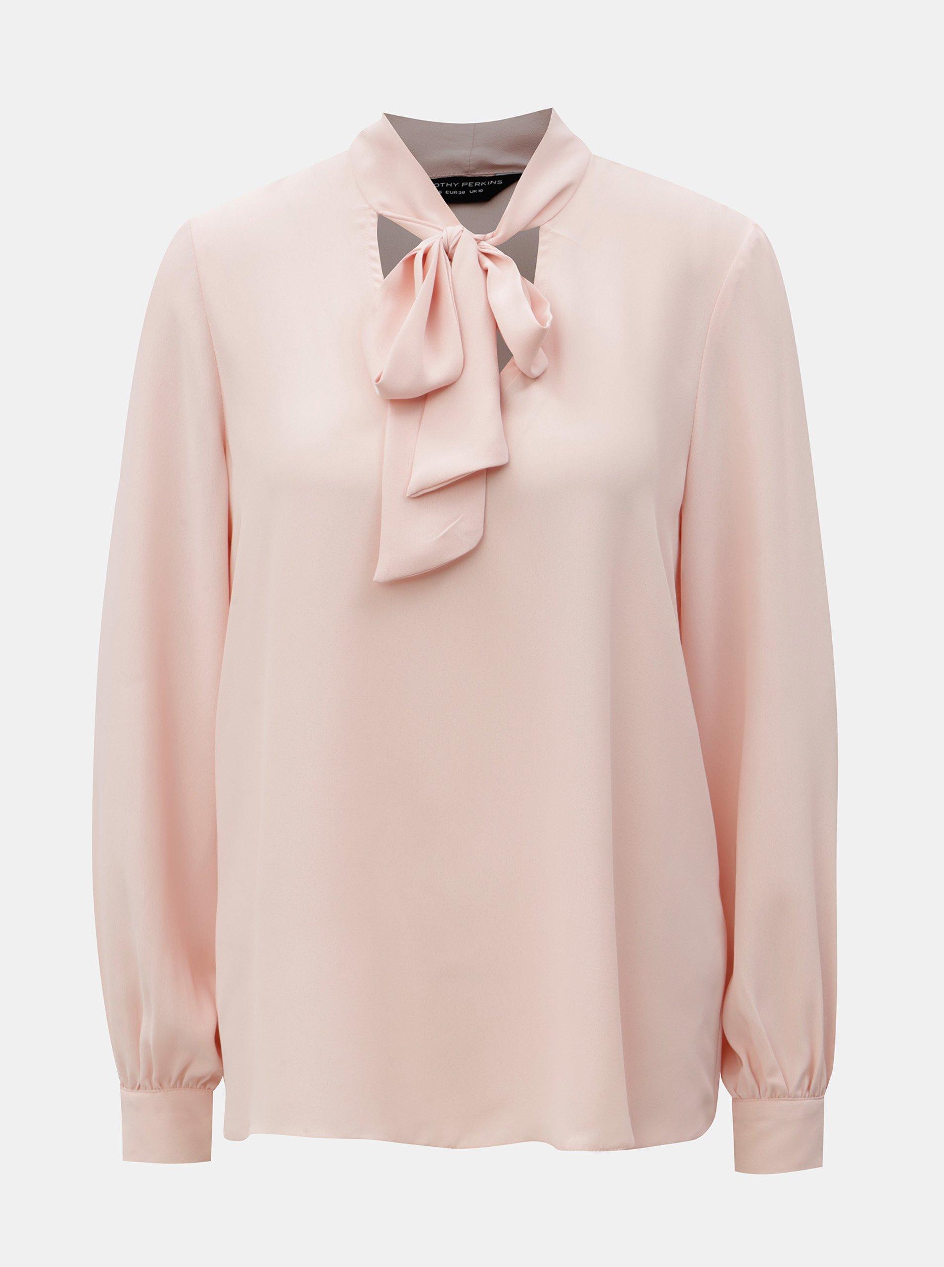 Světle růžová halenka se zavazováním Dorothy Perkins