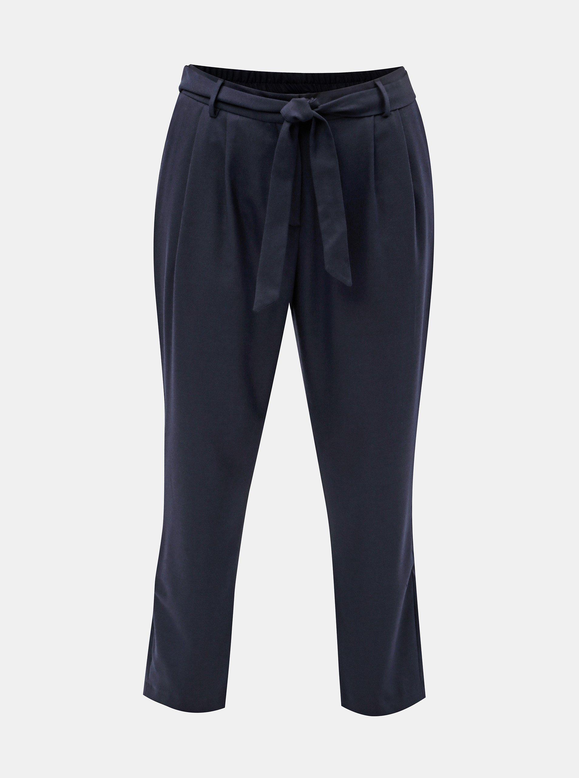 Tmavě modré zkrácené kalhoty s příměsí vlny Selected Femme Bio