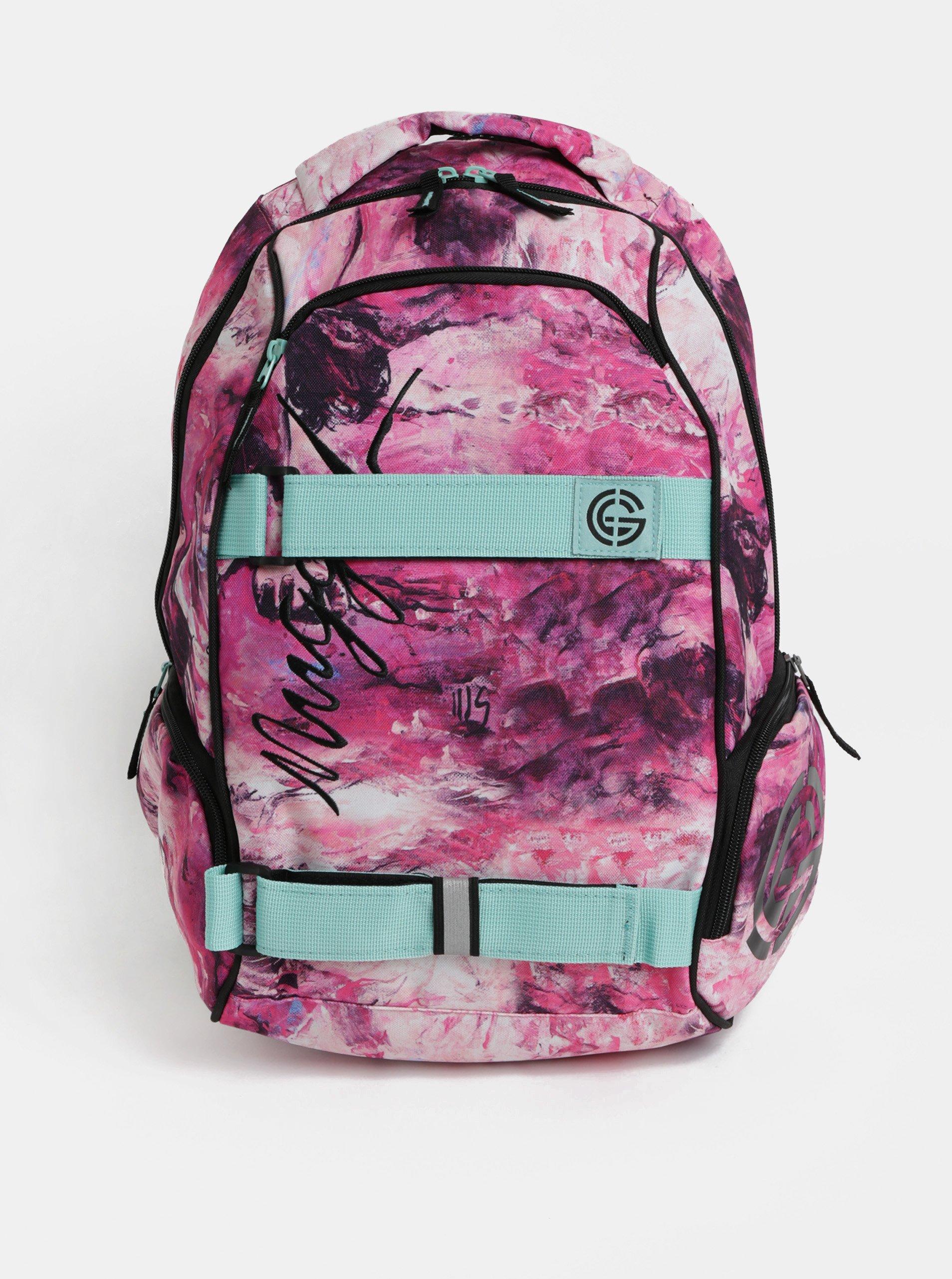 629bf478056 Růžový vzorovaný batoh s mentolovými detaily Nugget 25 l