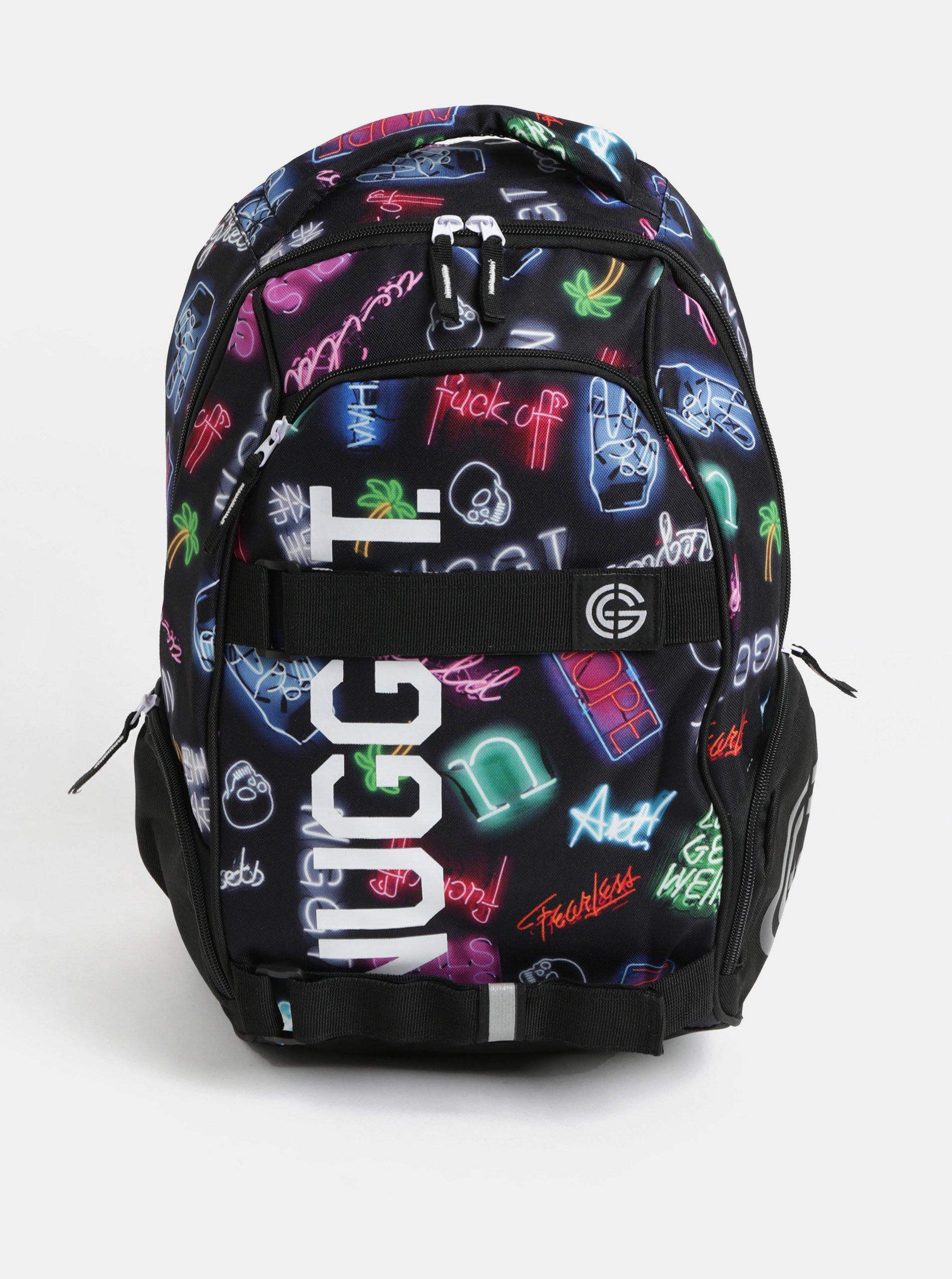 Fotografie Černý batoh s neonovým vzorem a potiskem Nugget 24 l