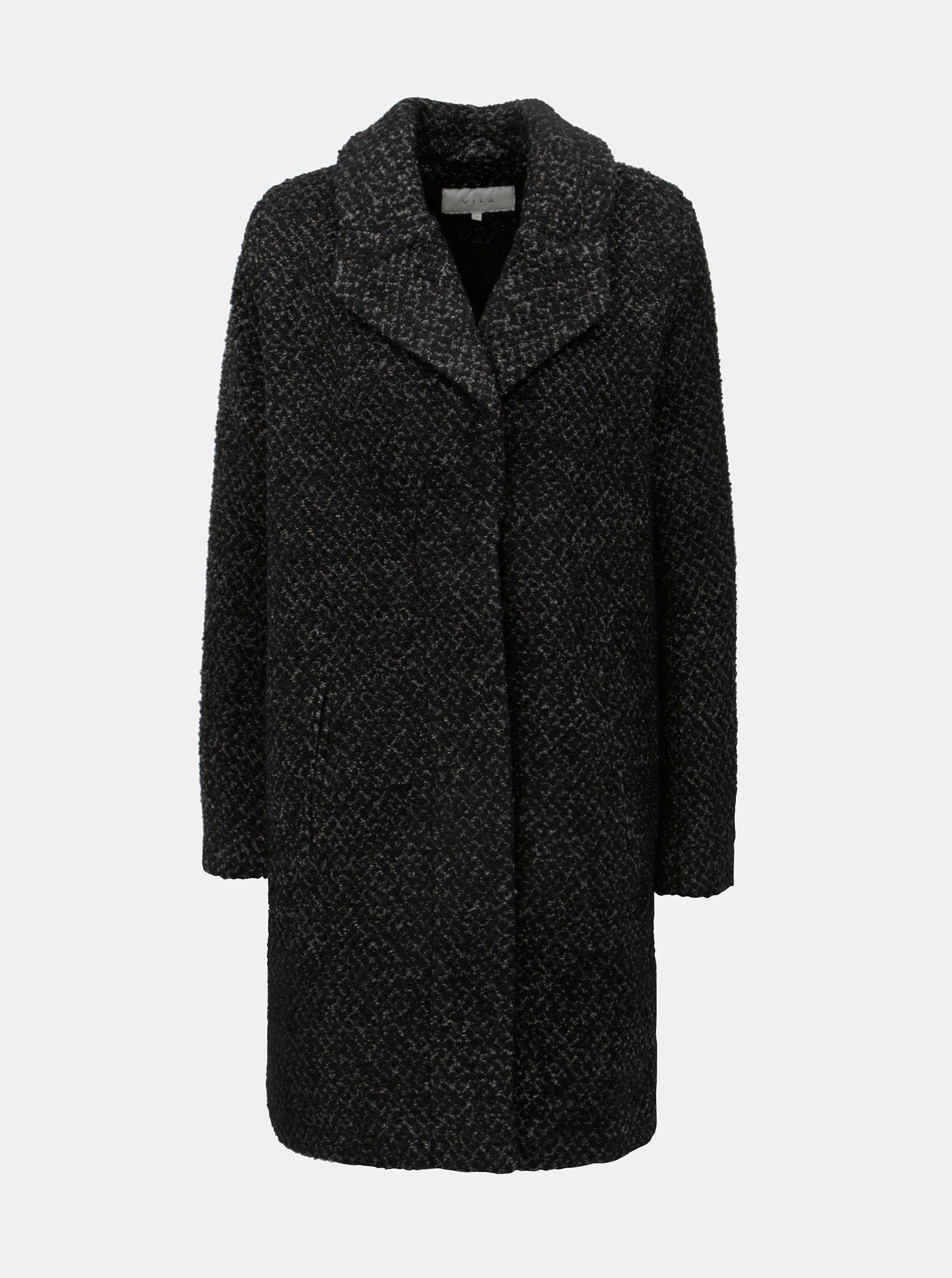 Černý žíhaný kabát s příměsí vlny VILA