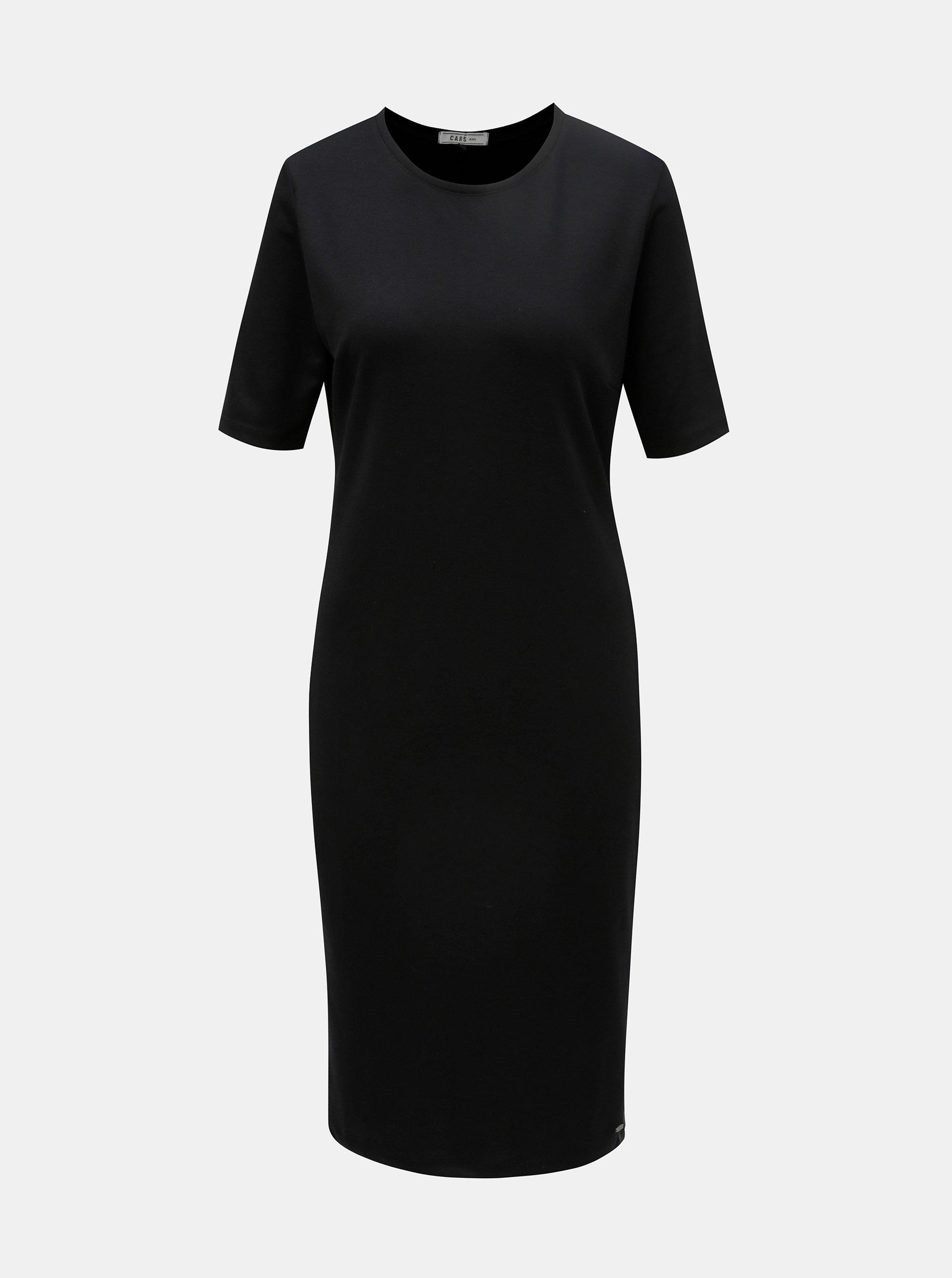 Černé šaty s koženkovým pruhem na stranách Cars Lanna