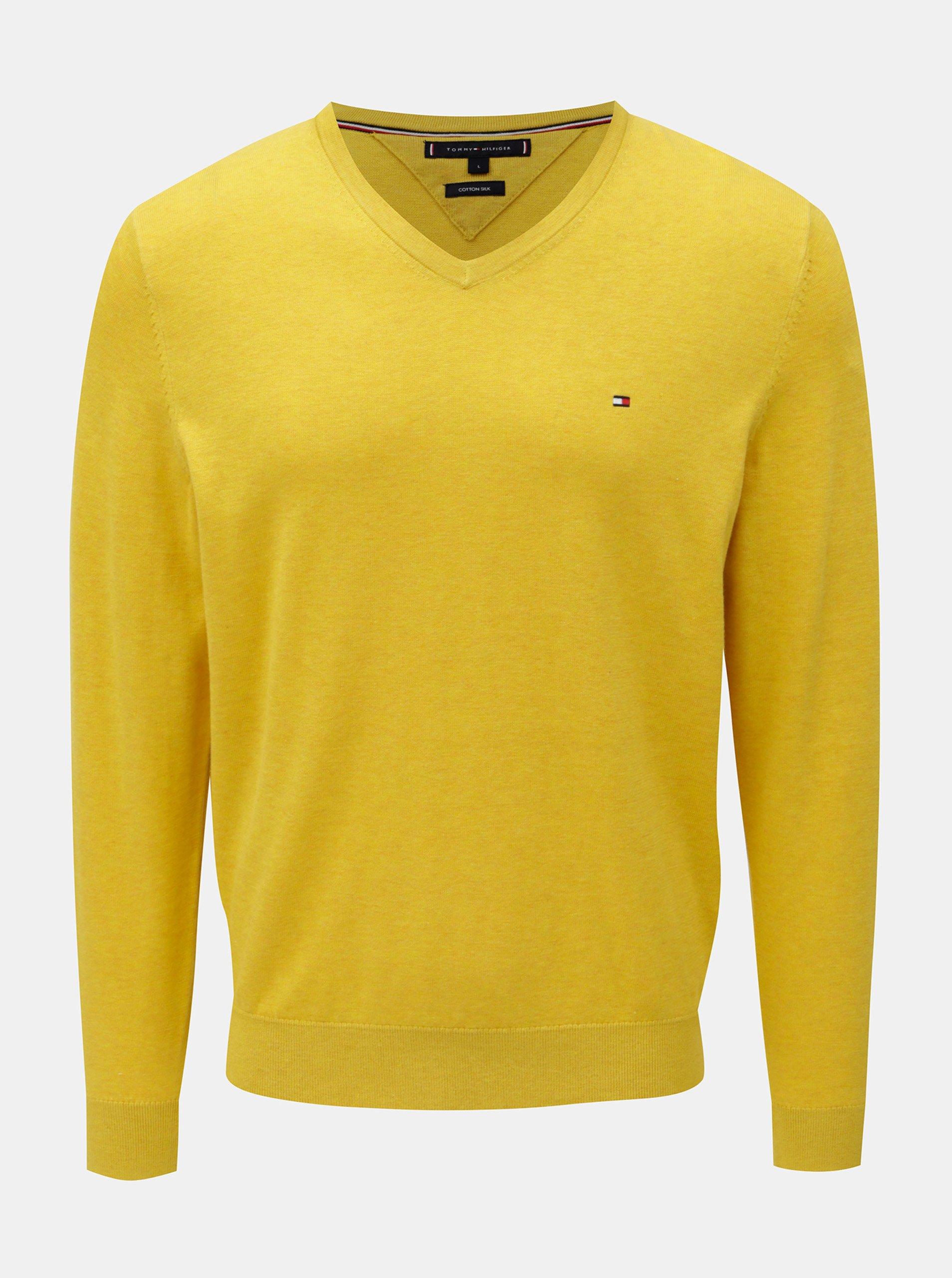c39a60d2ca Žltý tenký sveter s prímesou hodvábu Tommy Hilfiger