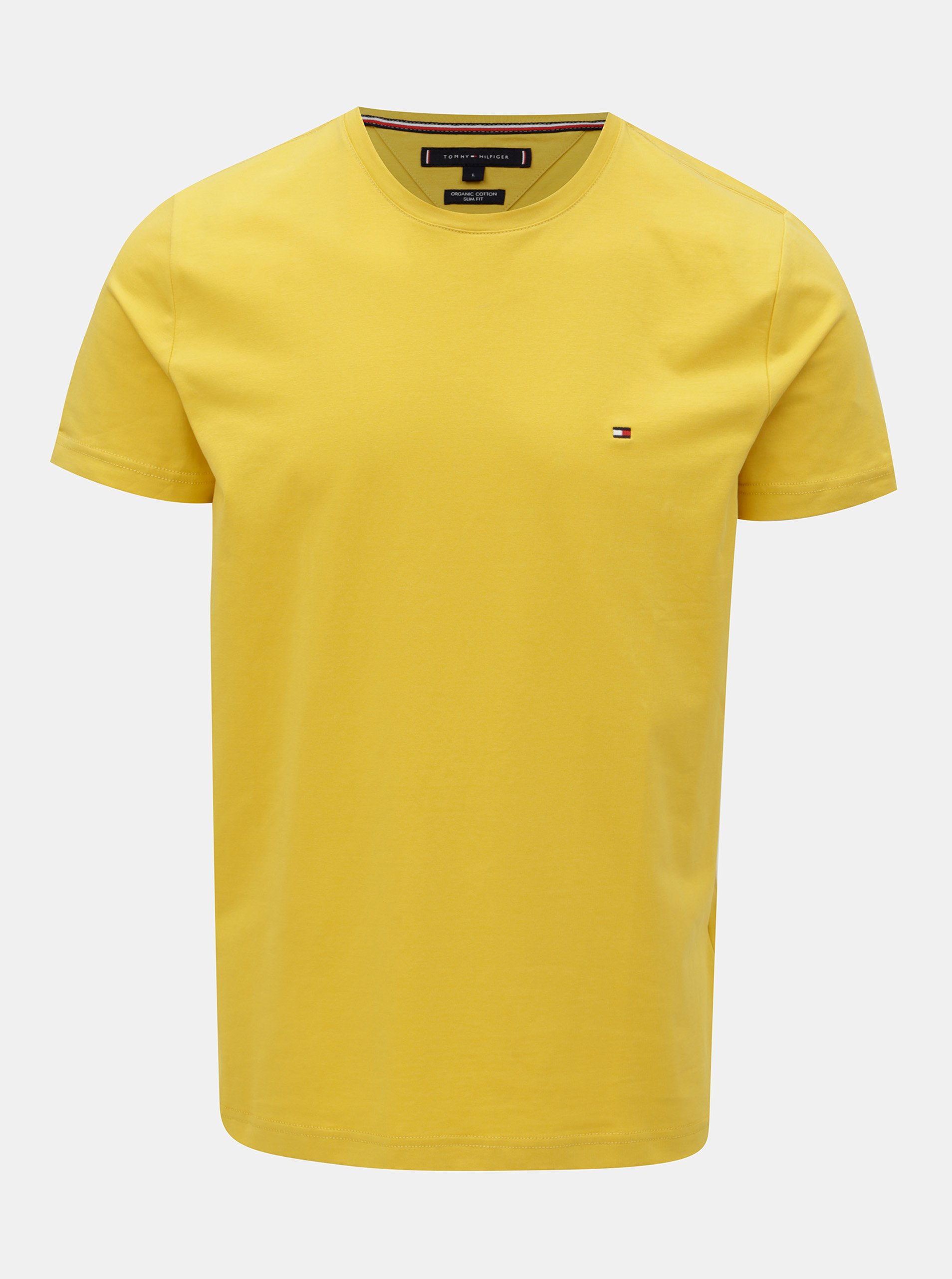 1f370f8c51 Žluté pánské slim fit basic tričko Tommy Hilfiger Tee - SLEVA ...