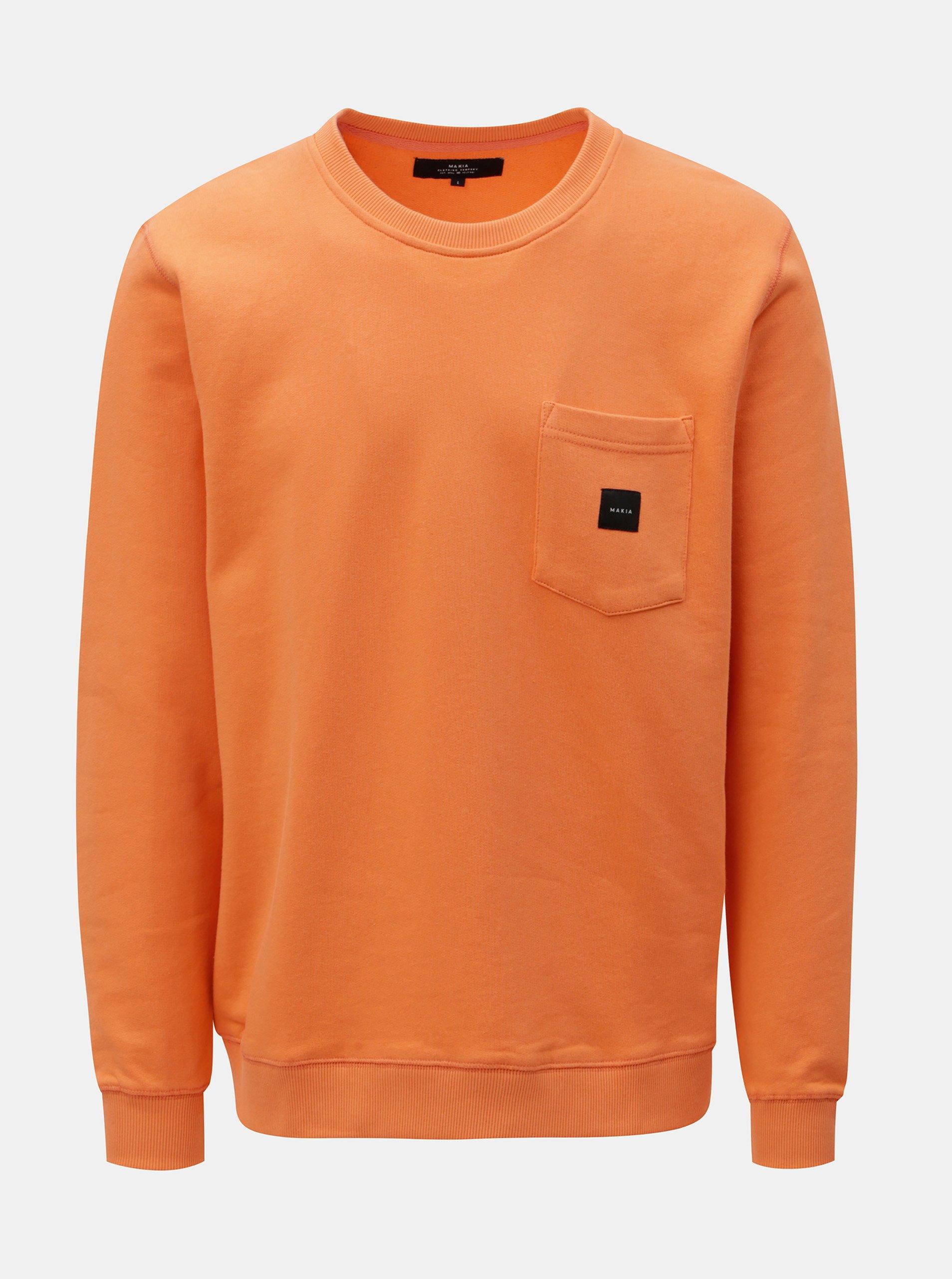 Oranžová mikina s náprsní kapsou Makia Sguare Pocket 940254a19c