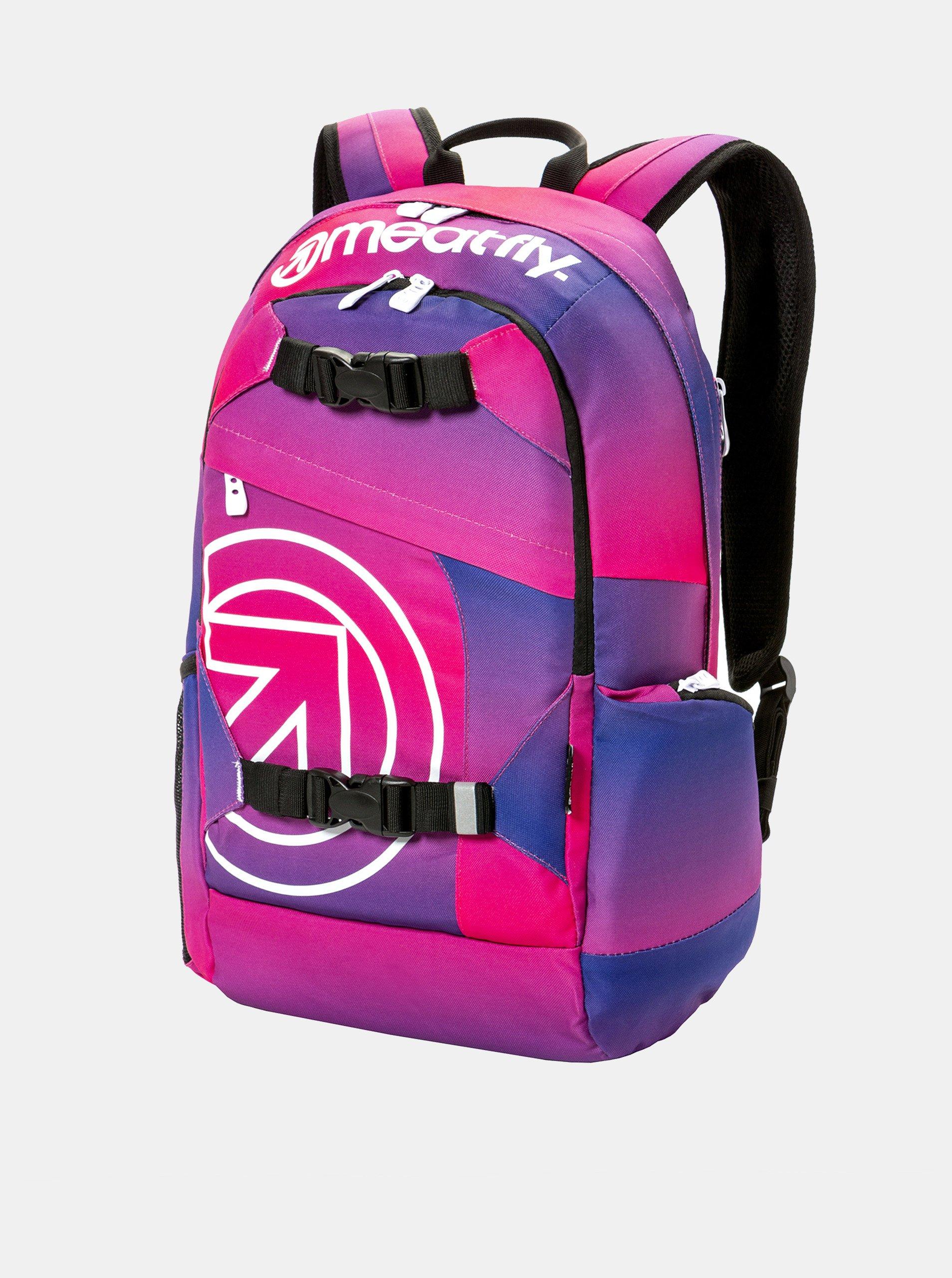 Fotografie Fialovo-růžový batoh s potiskem a penálem 2v1 Meatfly 20 l