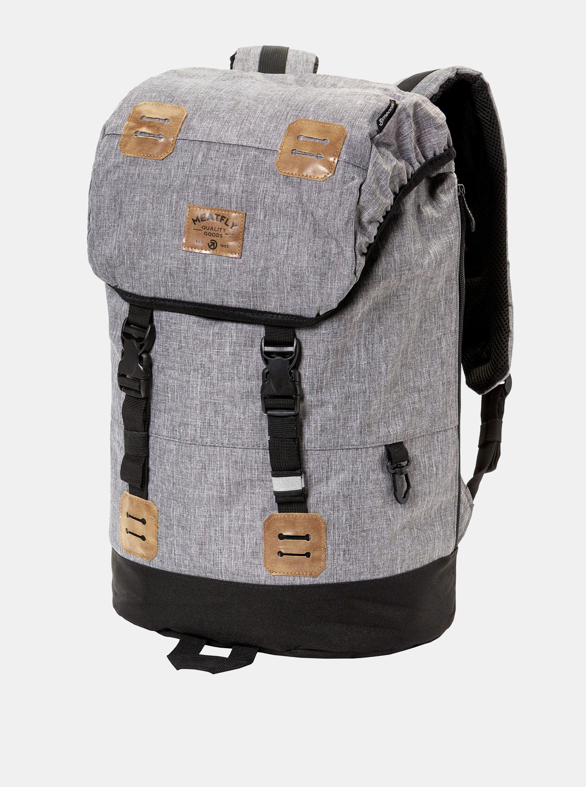 Fotografie Šedý žíhaný batoh s koženkovými detaily a pláštěnkou Meatfly 26 l