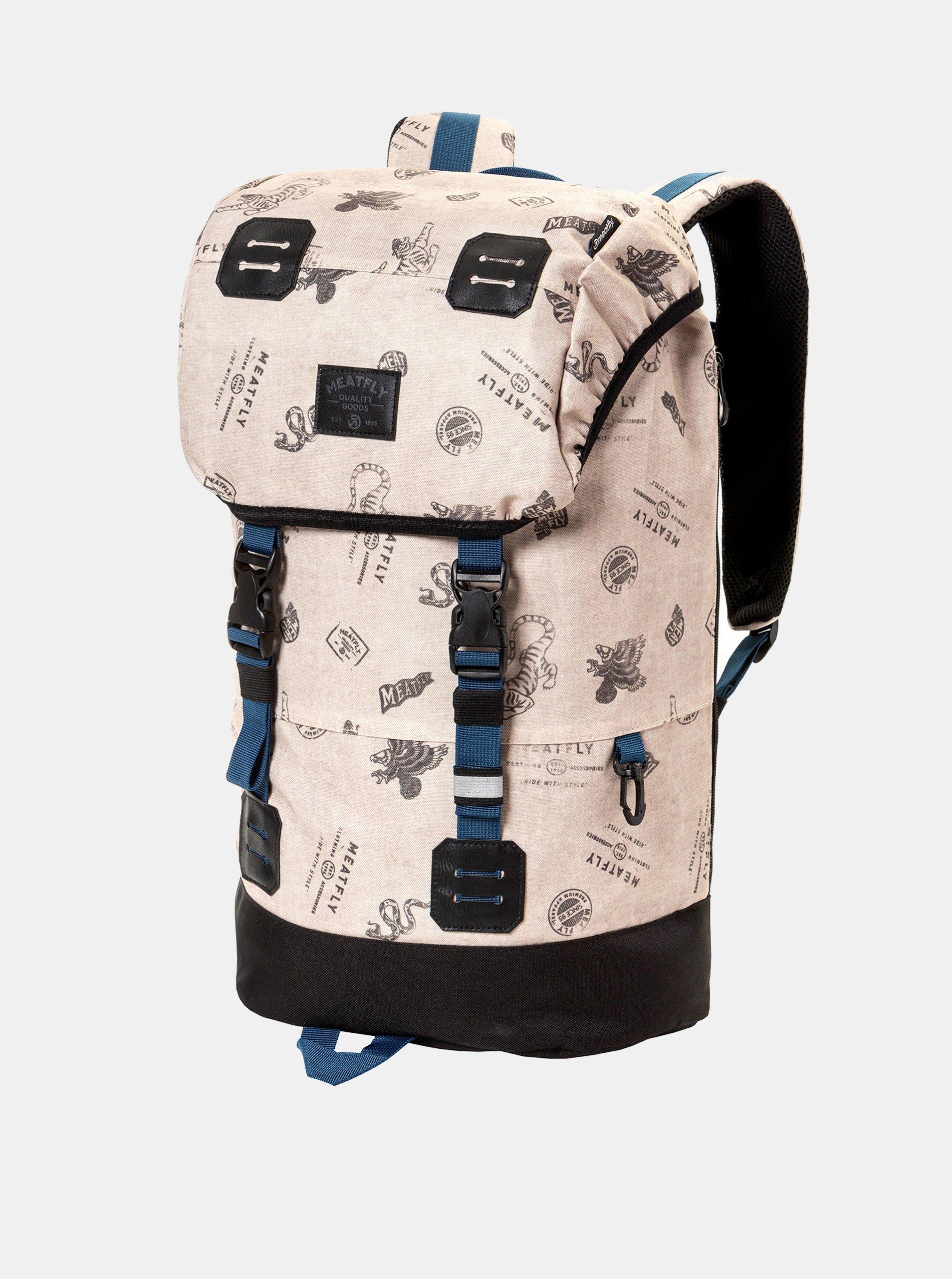 Fotografie Béžový batoh s koženkovými detaily a pláštěnkou Meatfly 26 l