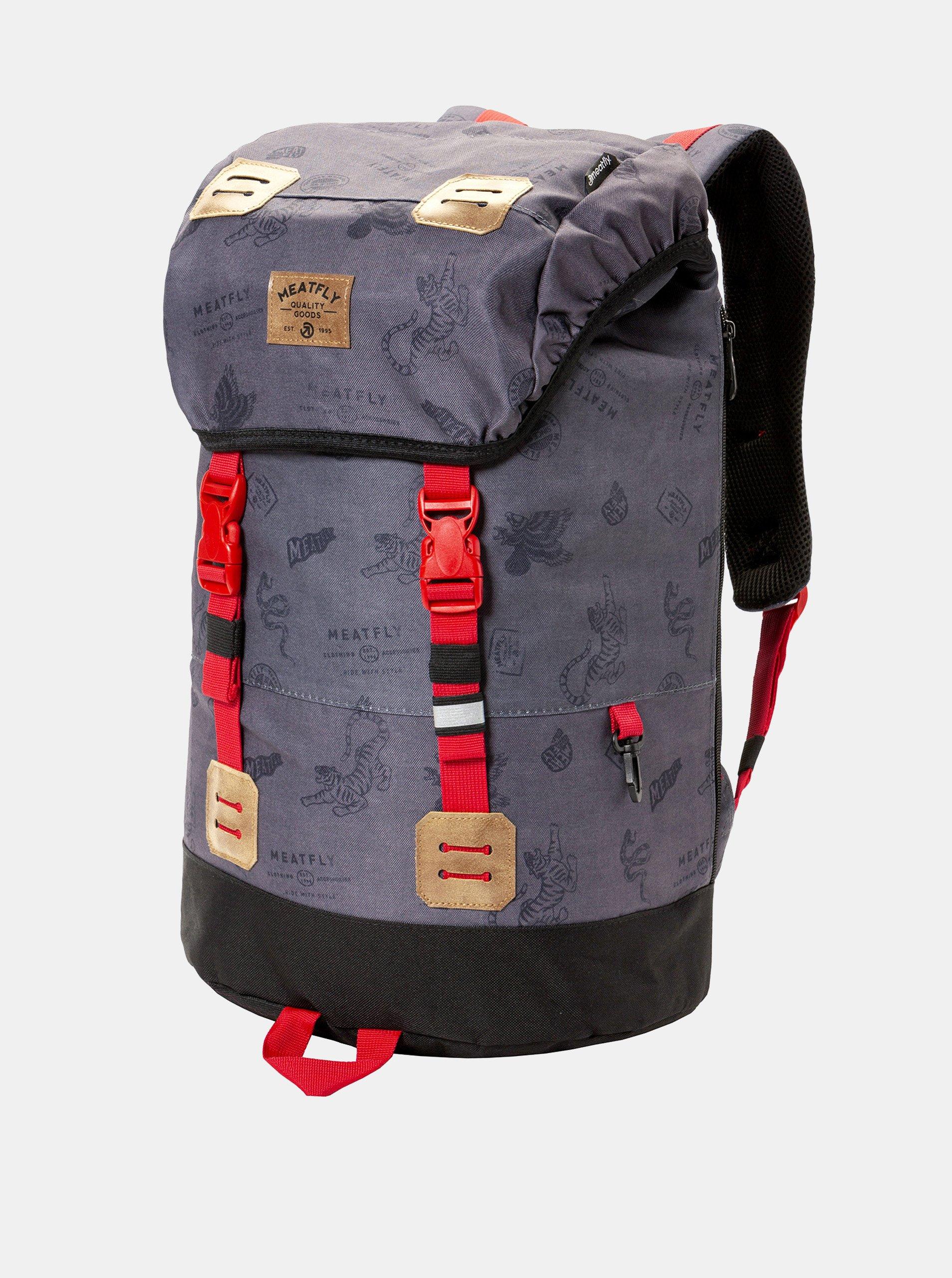 Fotografie Tmavě šedý batoh s koženkovými detaily a pláštěnkou Meatfly 26 l