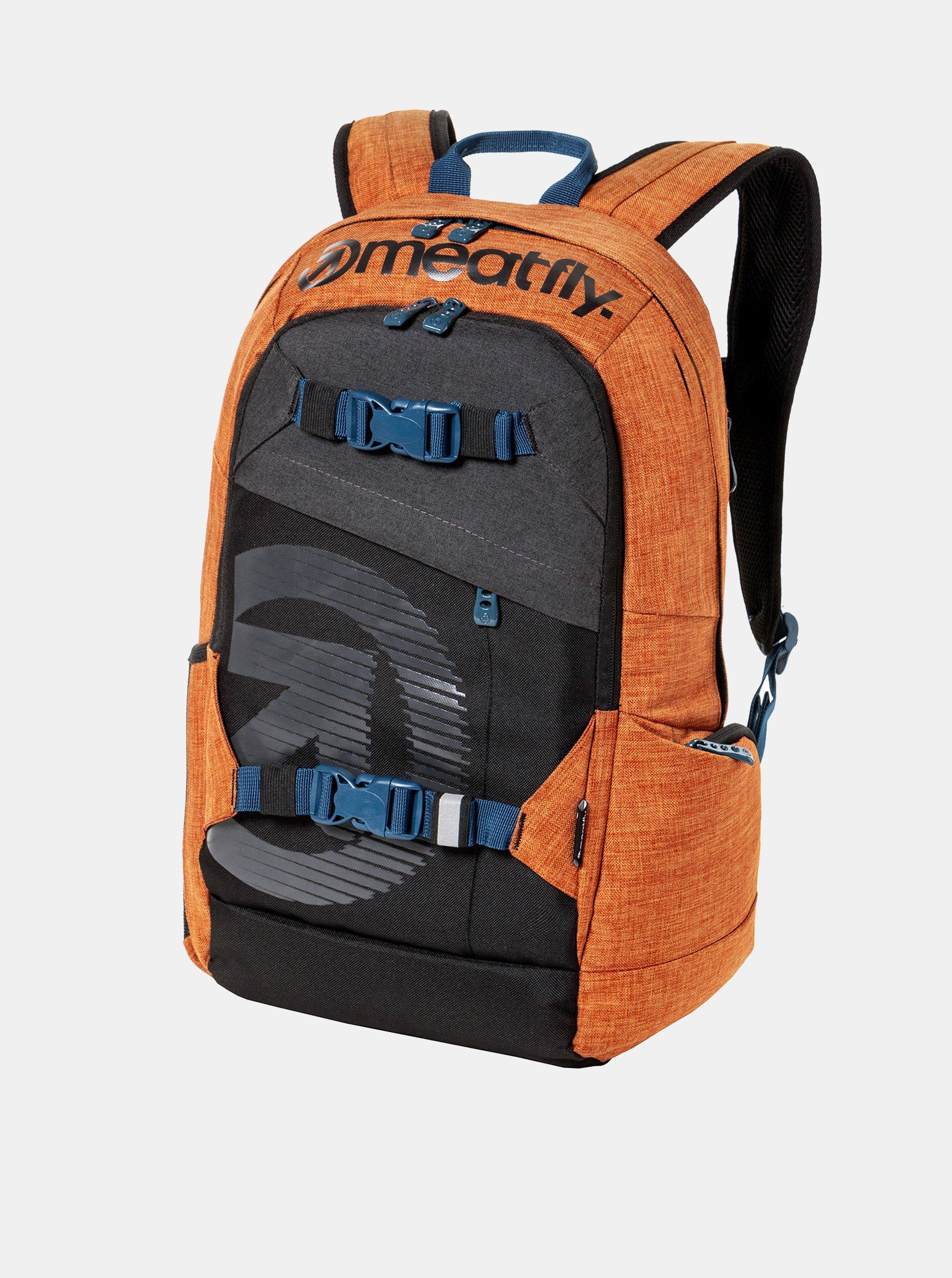 Fotografie Šedo-oranžový batoh s potiskem a penálem Meatfly 20 l