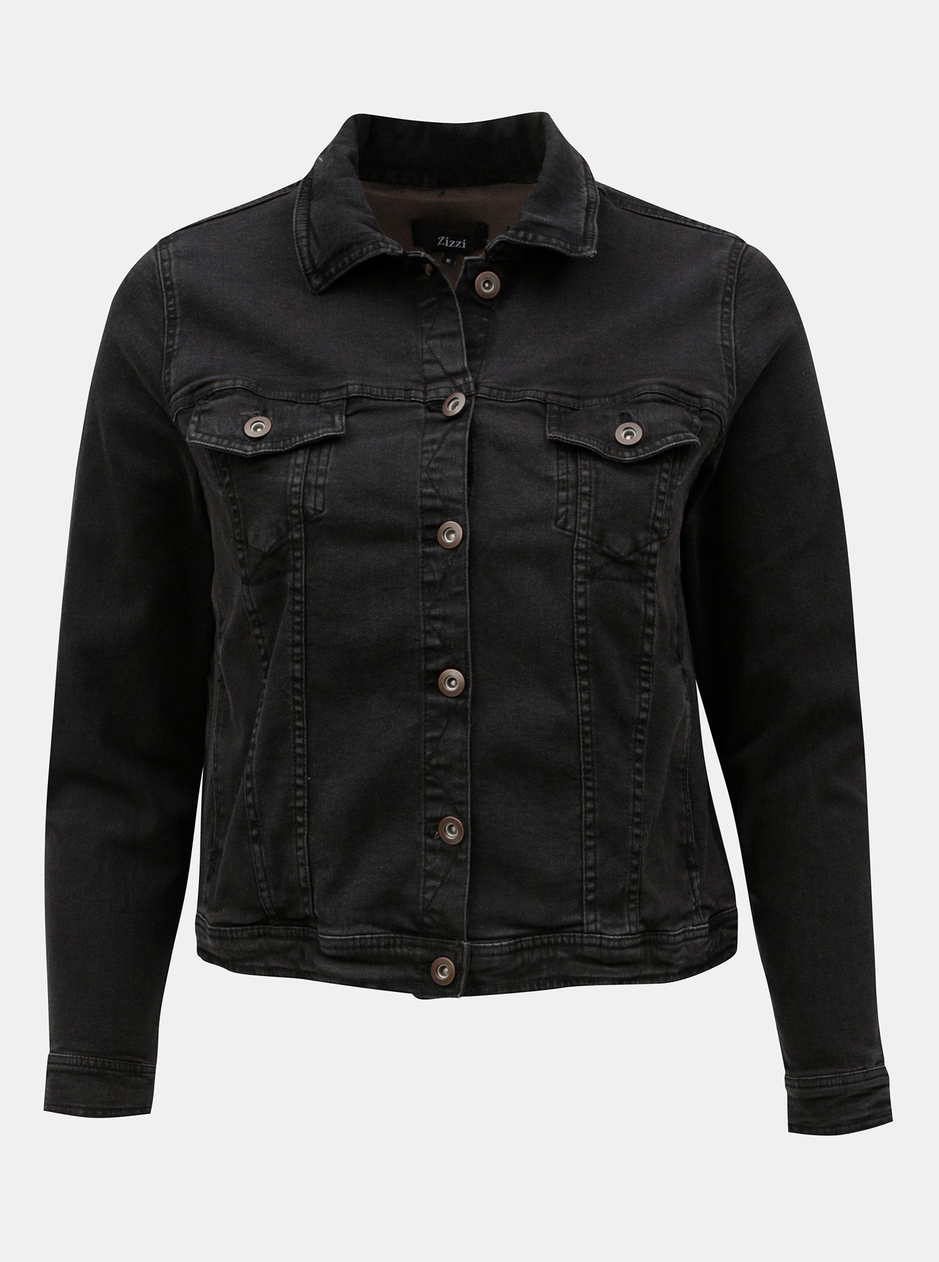 Černá krátká džínová bunda Zizzi Manais