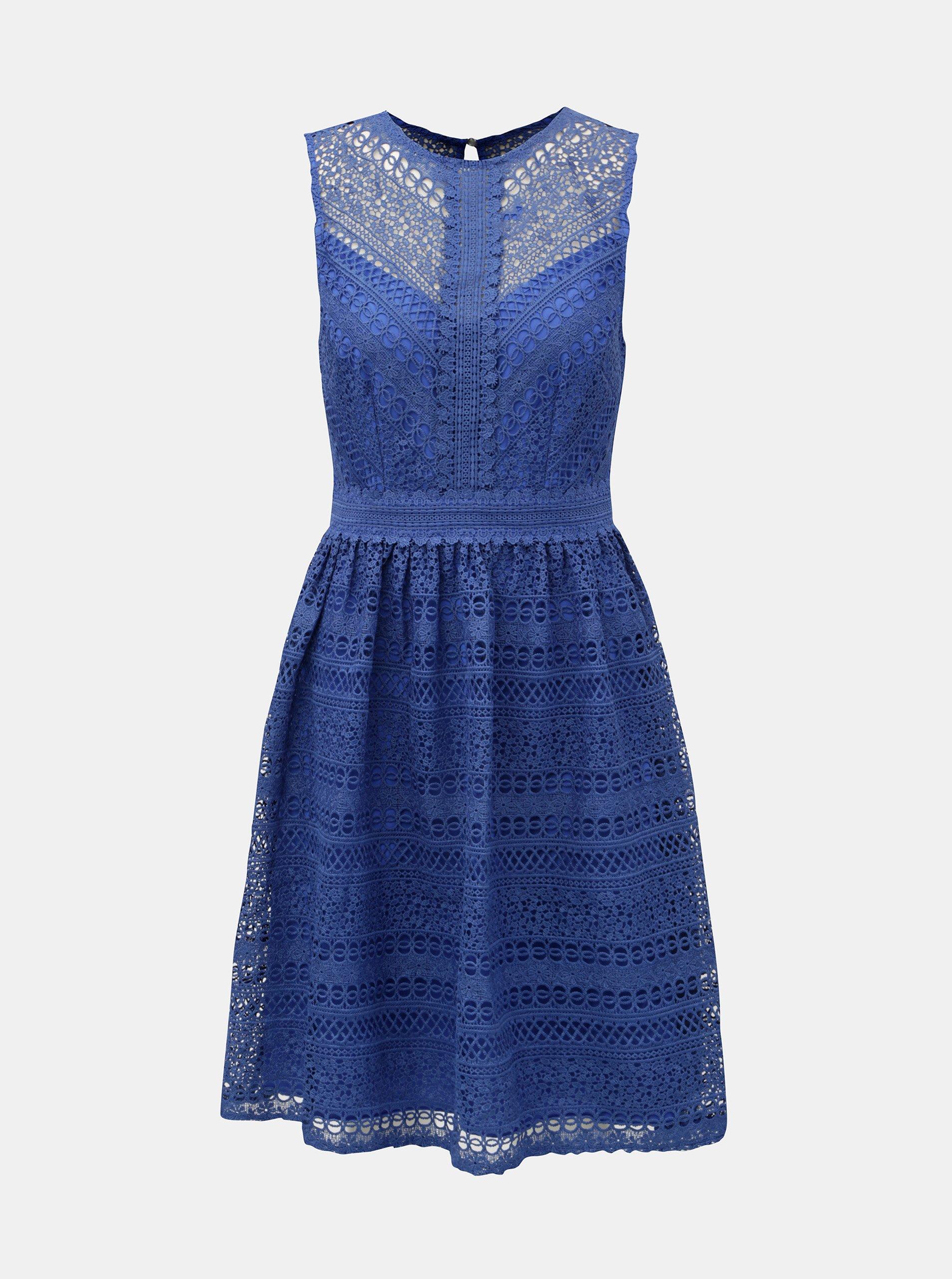 Modré čipkované šaty Little Mistress