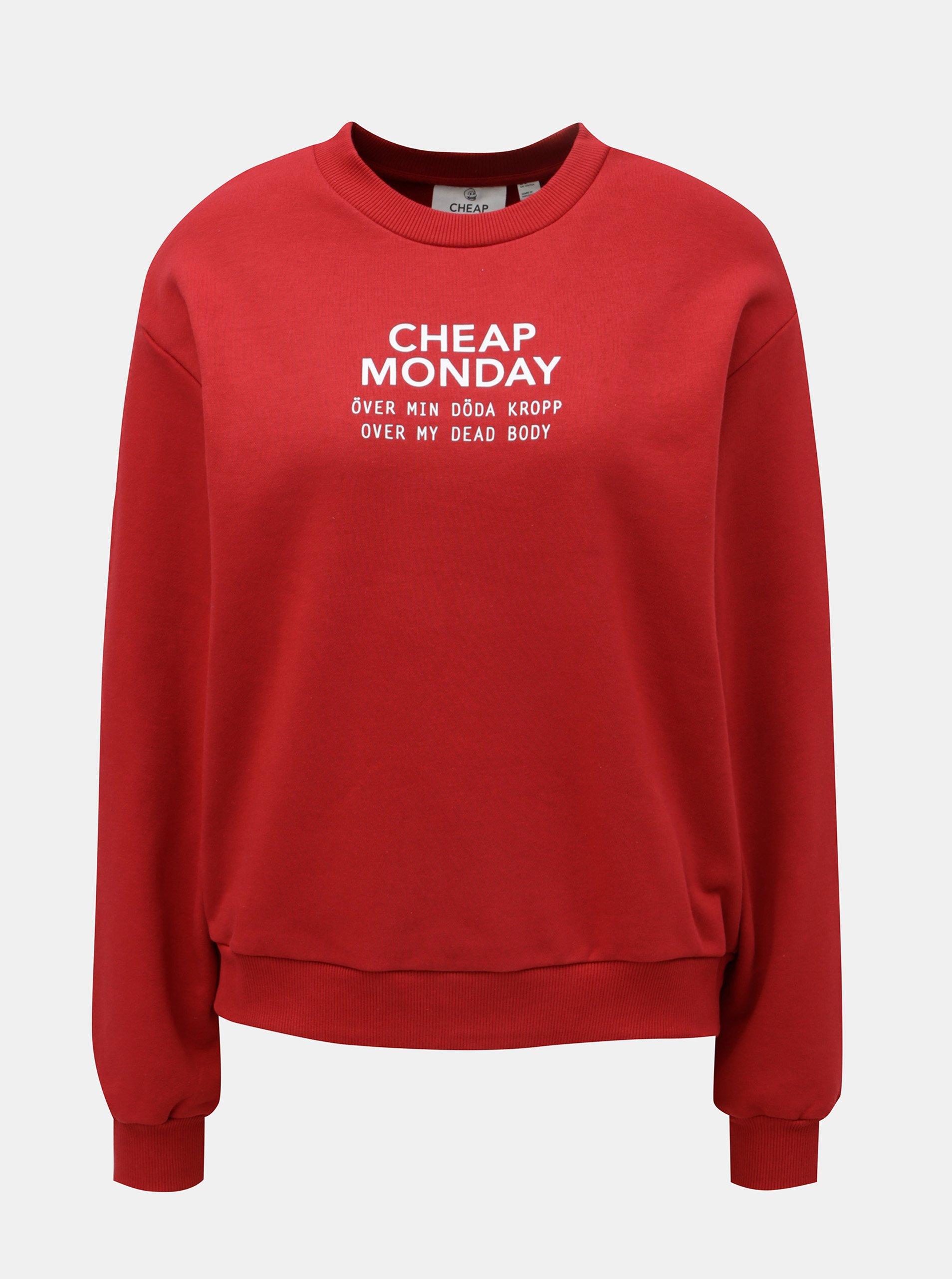 Červená dámská mikina s potiskem Cheap Monday