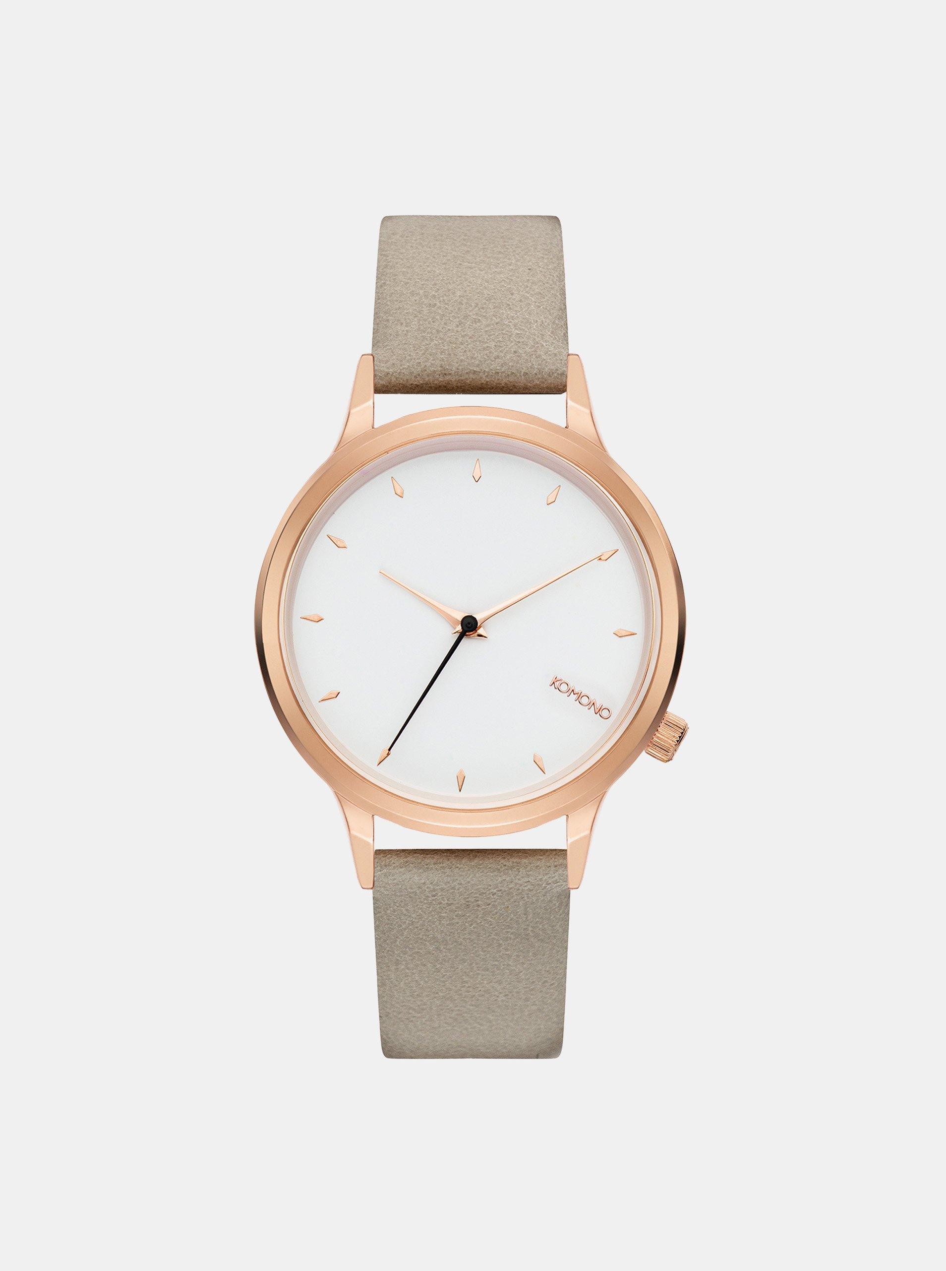Dámské hodinky se světle šedým koženým páskem Komono Lexi