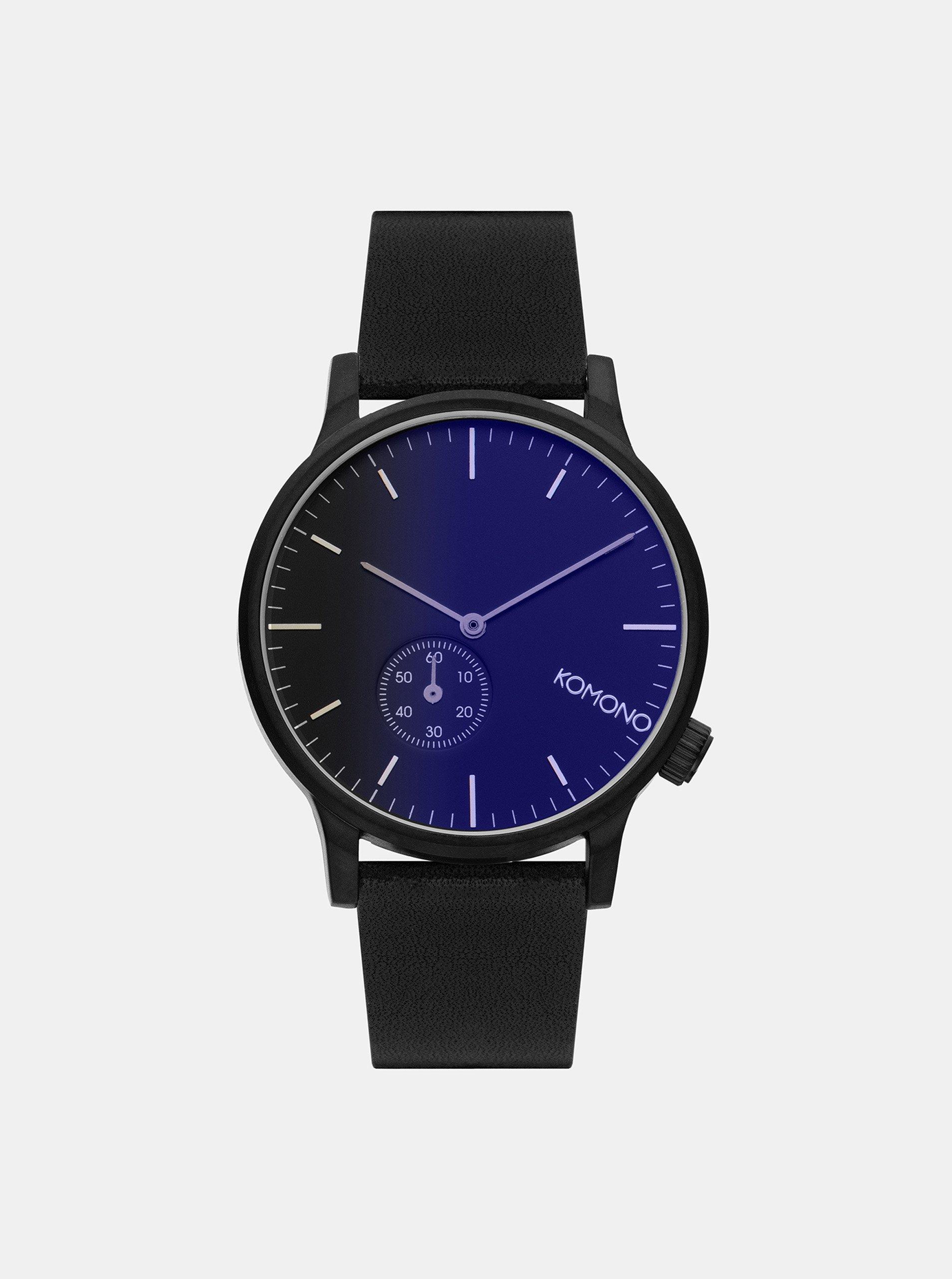 Pánské hodinky s černým koženým páskem Komono Winston Subs 94b63aced9