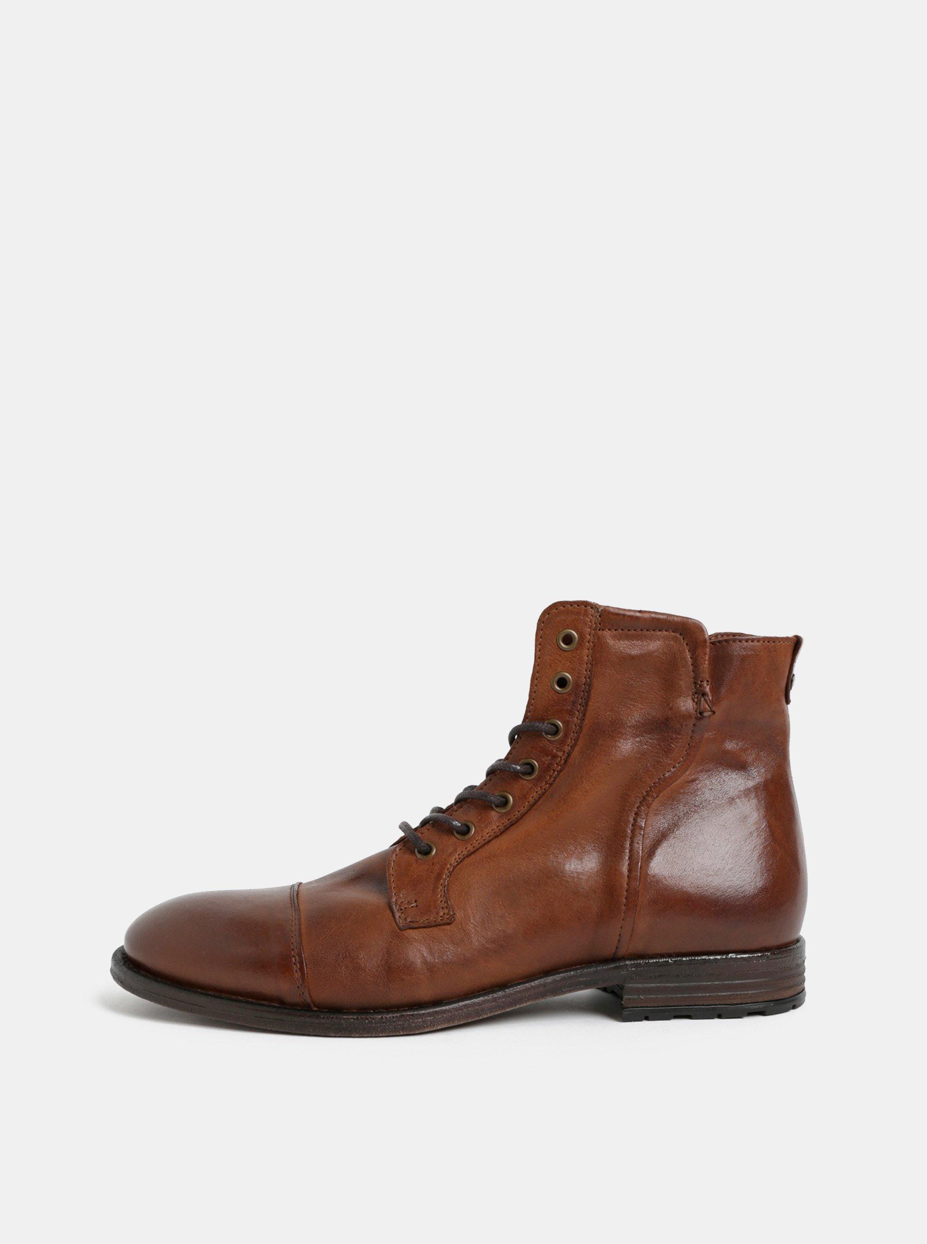 Hnědé pánské kožené kotníkové boty ALDO