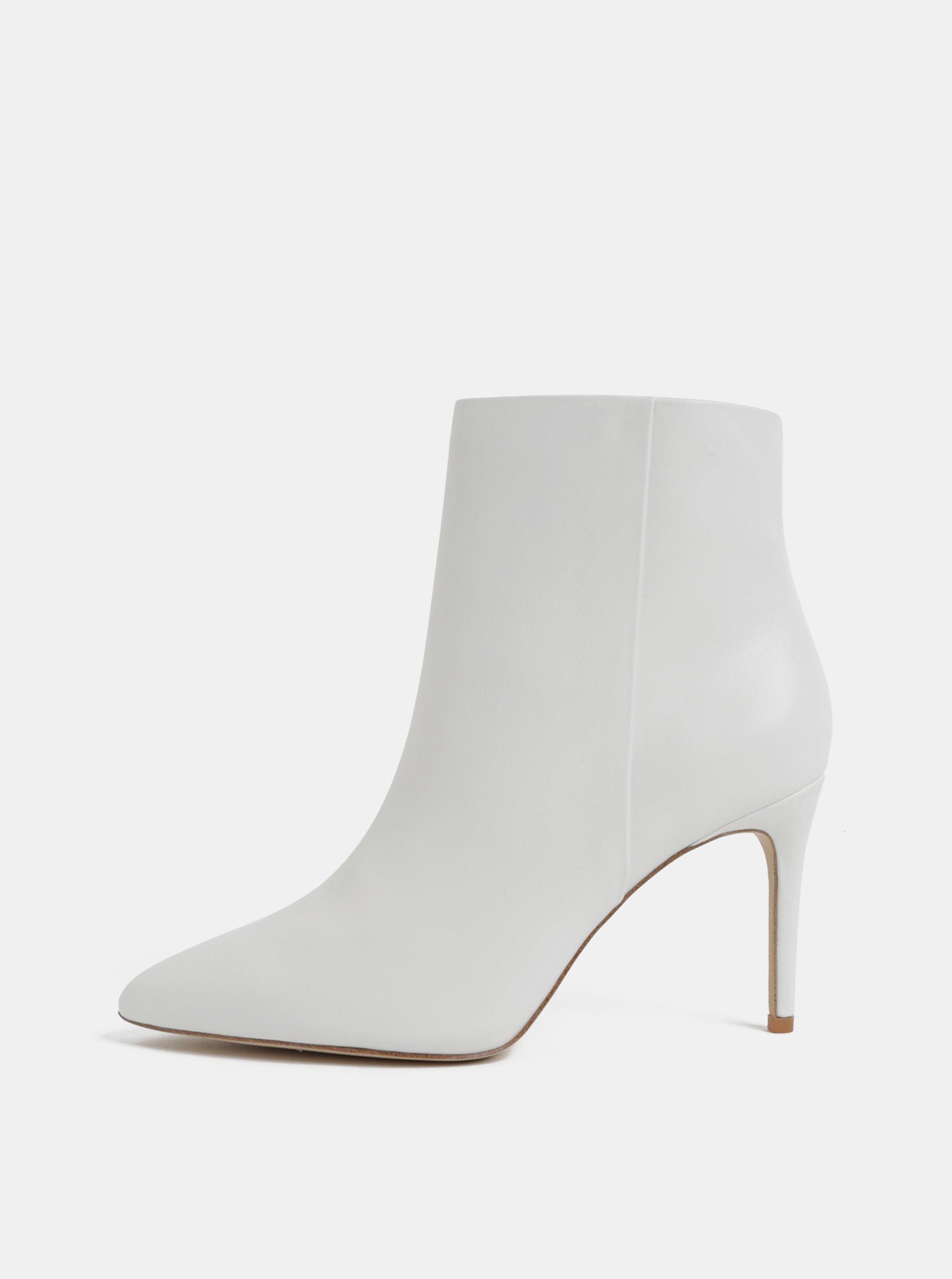 Bílé kožené kotníkové boty na jehlovém podpatku ALDO