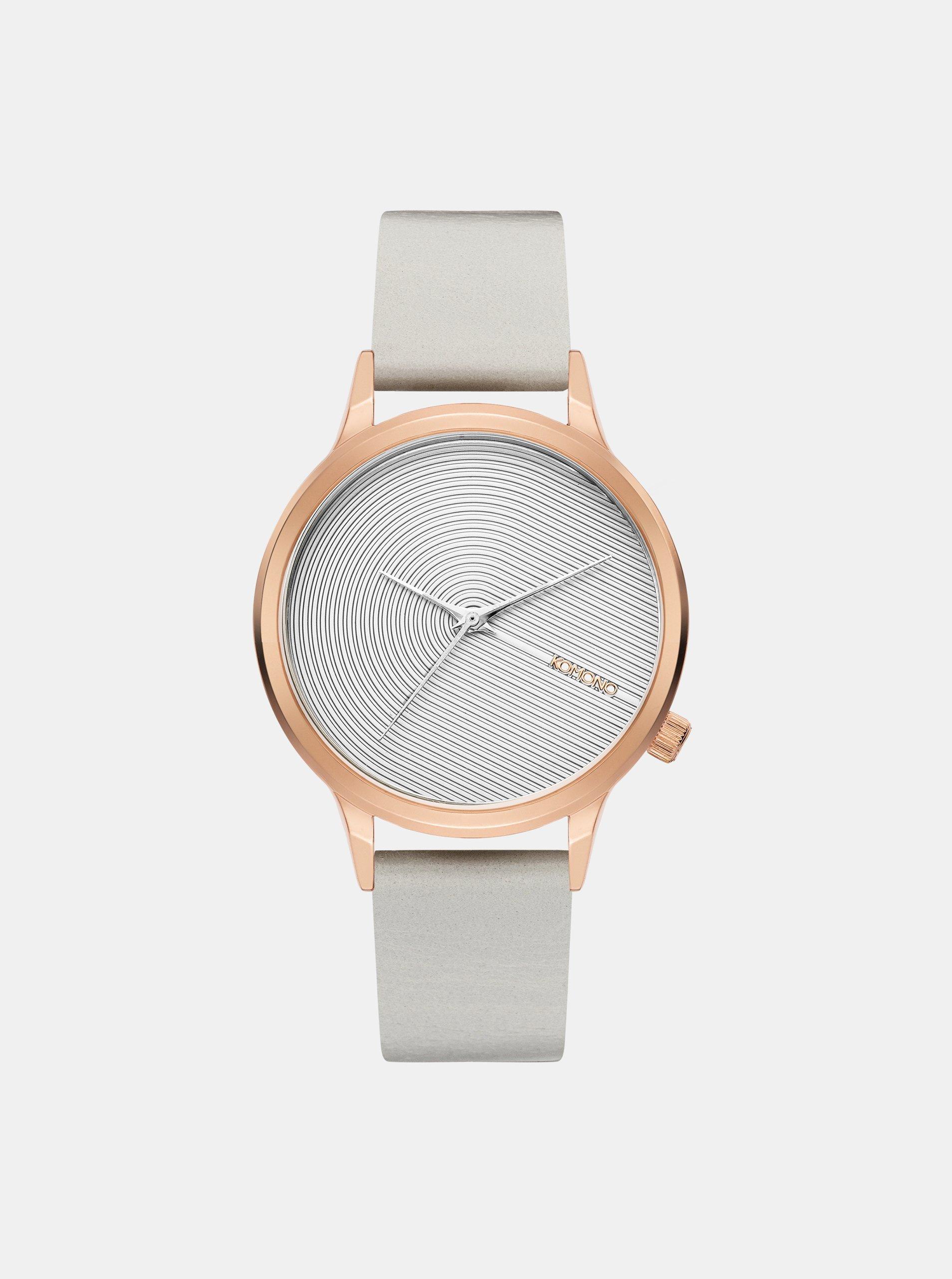 Dámské hodinky s bílým koženým páskem Komono Lexi Deco