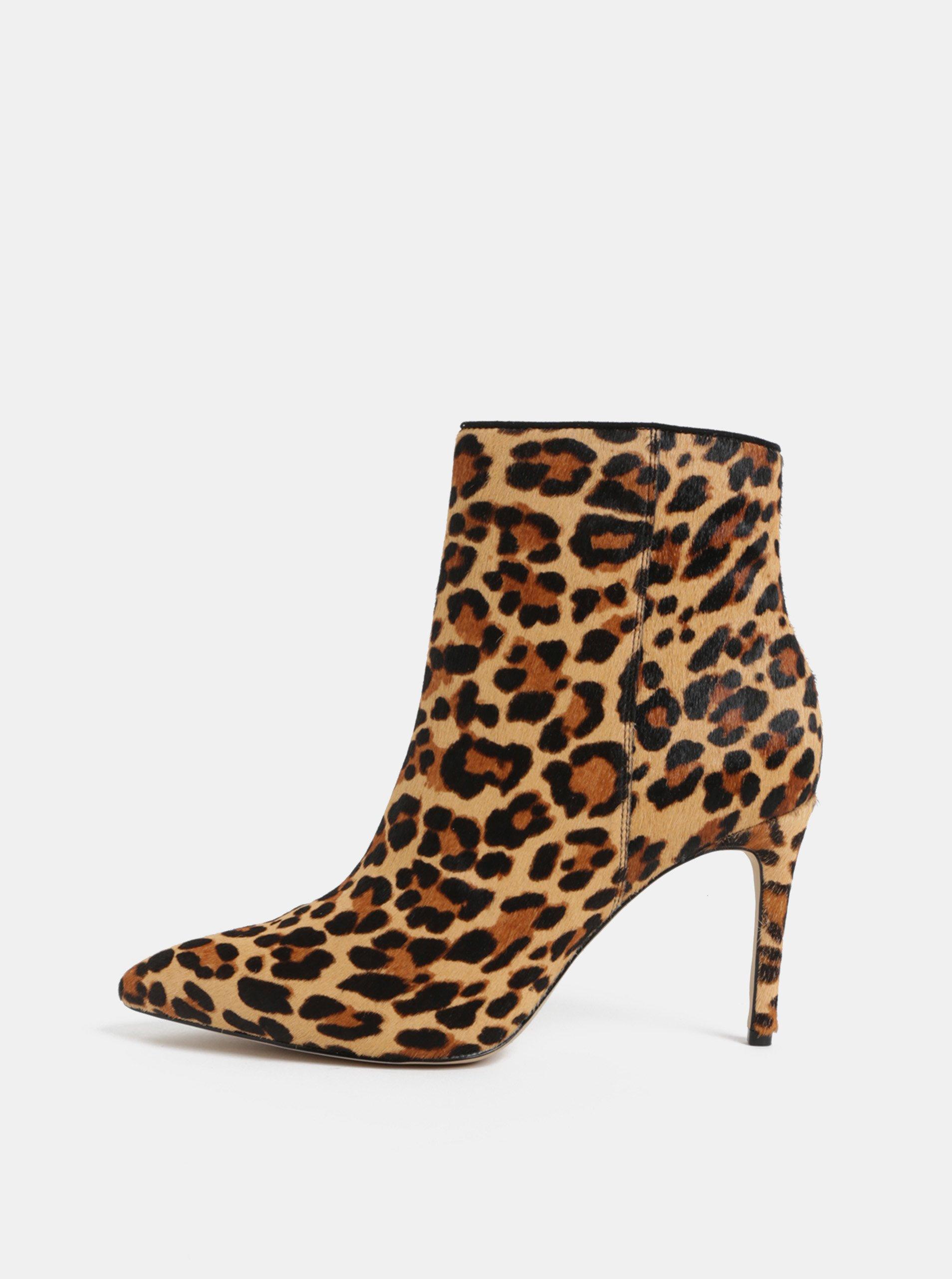 Hnědé kožené kotníkové boty s leopardím vzorem ALDO