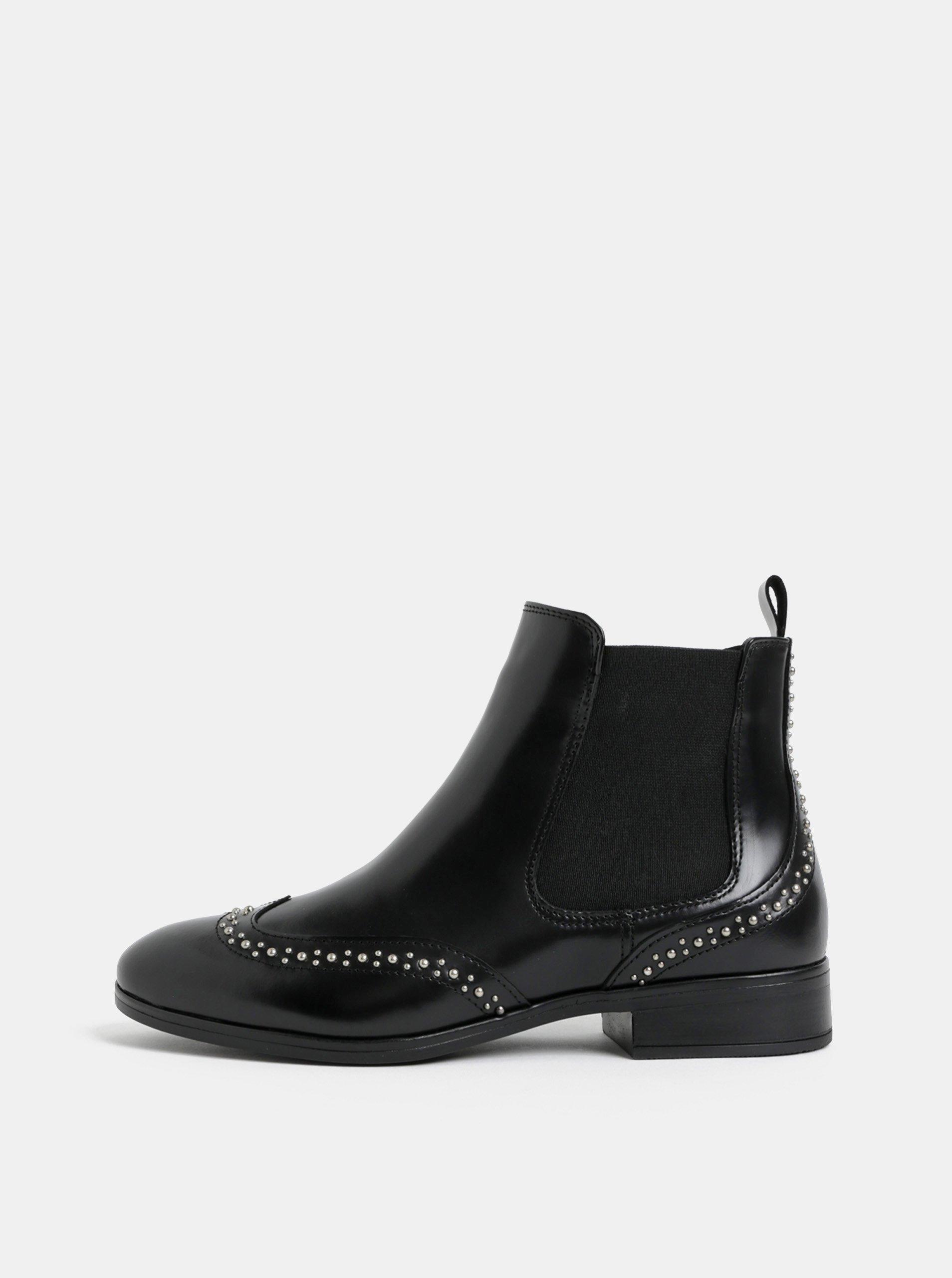 Černé dámské kožené chelsea boty s kovovou aplikací ALDO 0fe6c2216d