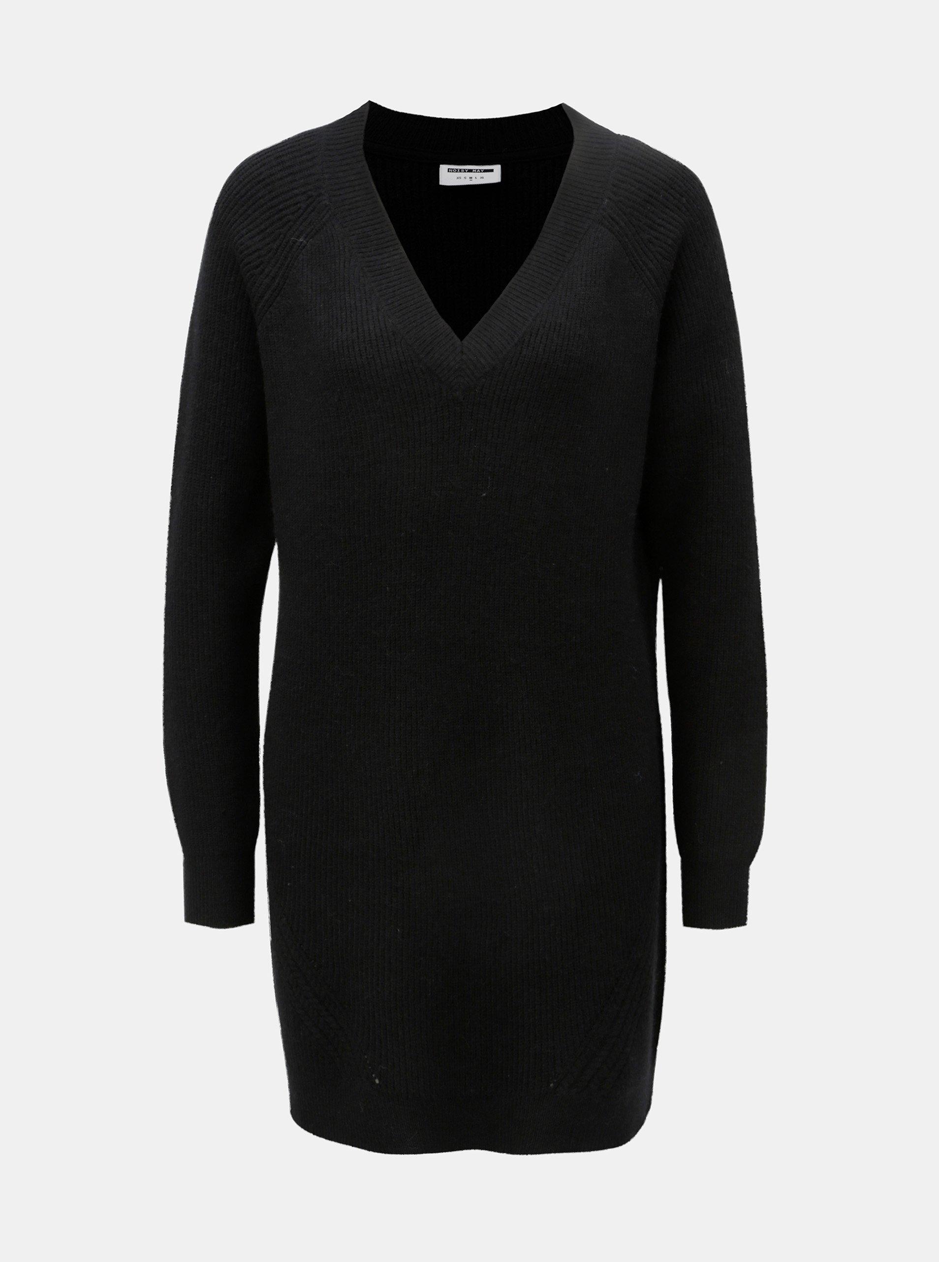 Fotografie Černý svetr s prodlouženou délkou a véčkovým výstřihem Noisy May Sati