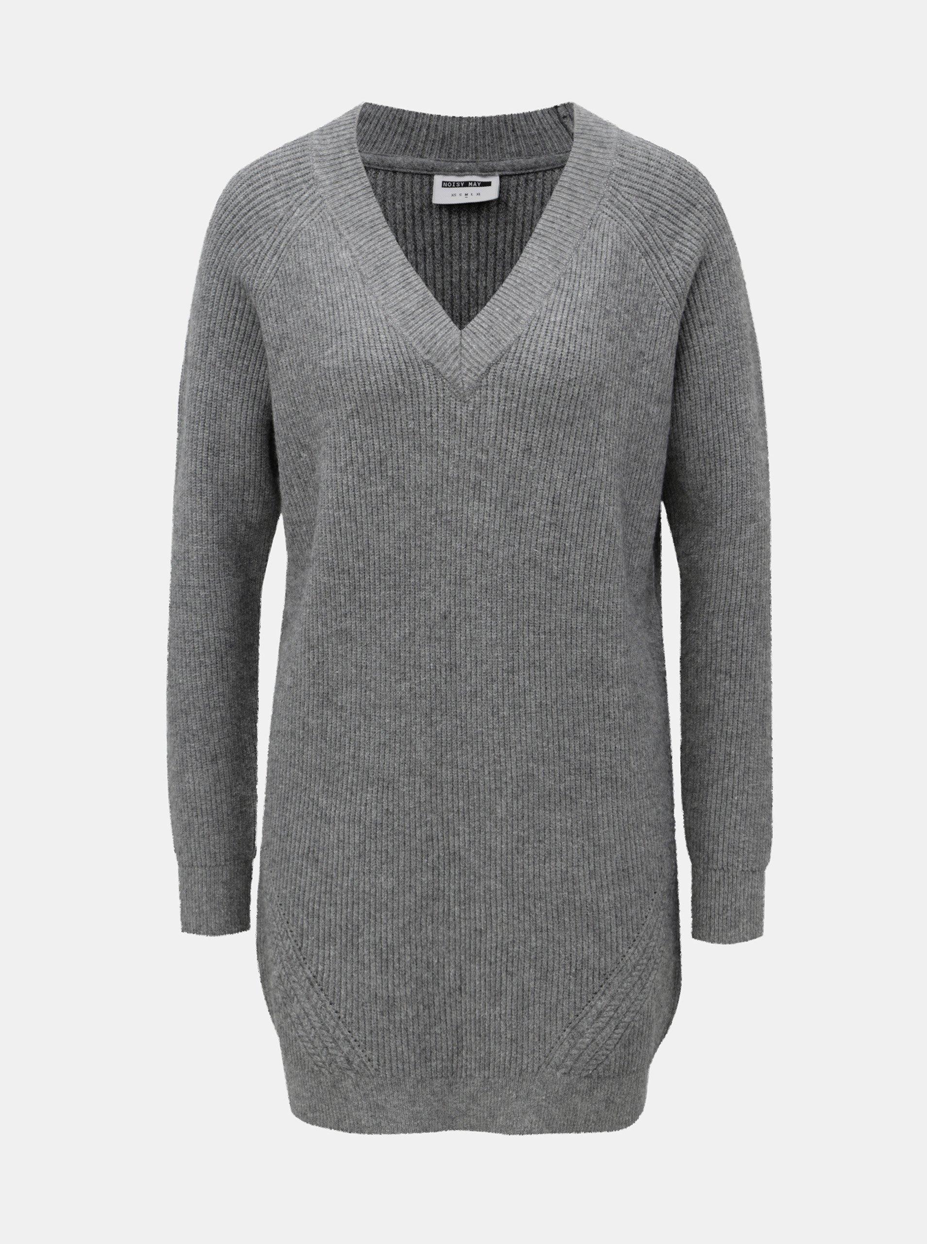 Fotografie Šedý žíhaný svetr s prodlouženou délkou a véčkovým výstřihem Noisy May Sati