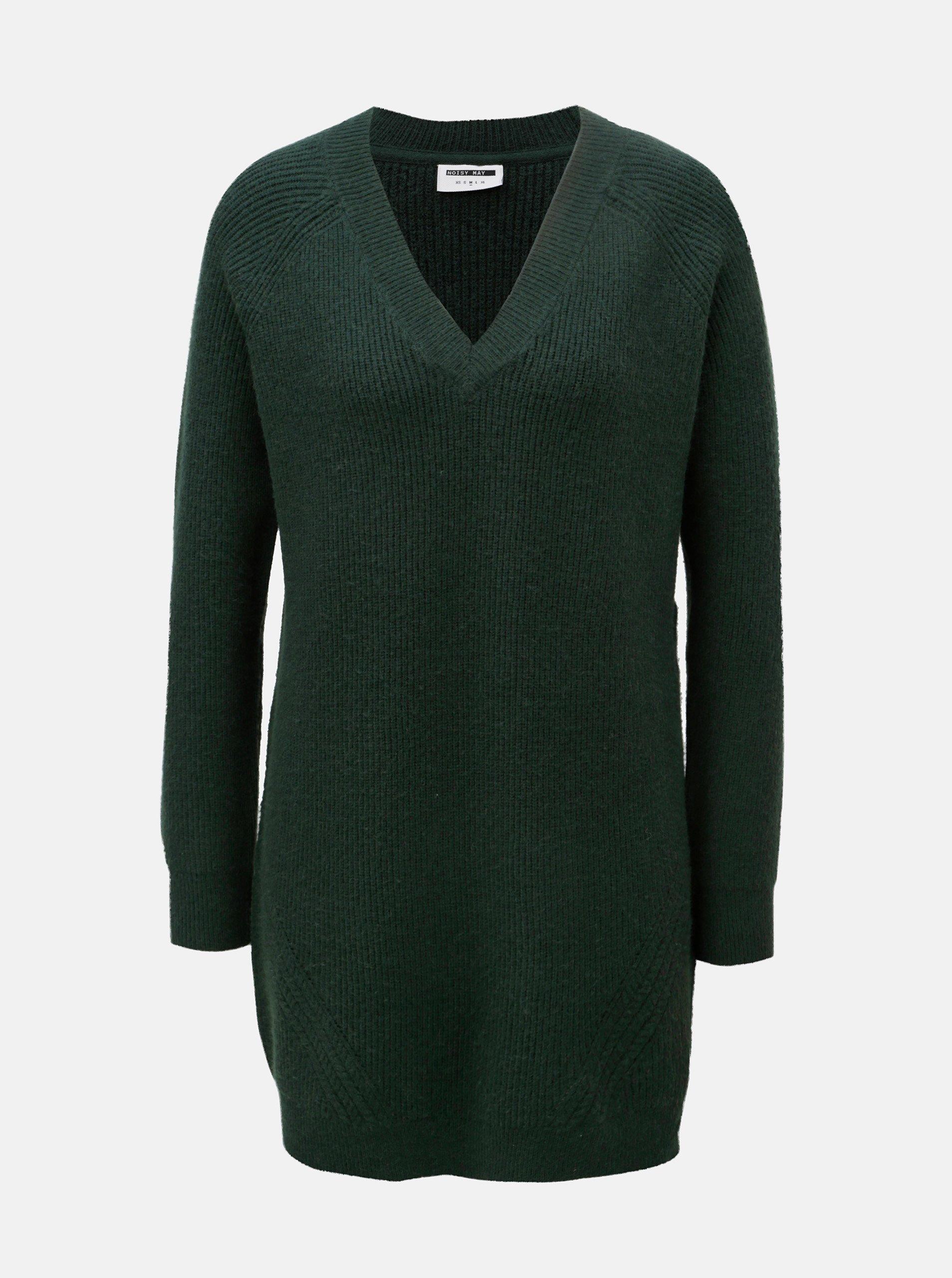 Fotografie Tmavě zelený svetr s prodlouženou délkou a véčkovým výstřihem Noisy May Sati