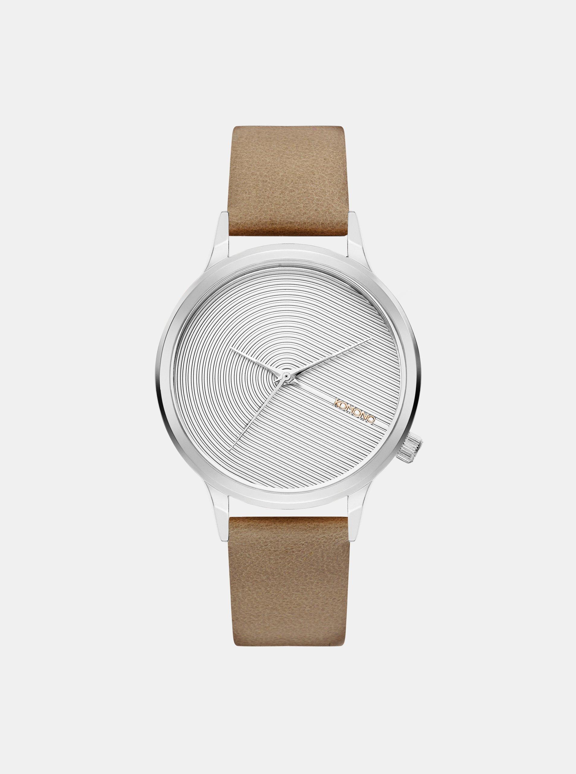 4490519c8a3 Dámské hodinky s béžovým koženým páskem Komono Lexo Deco