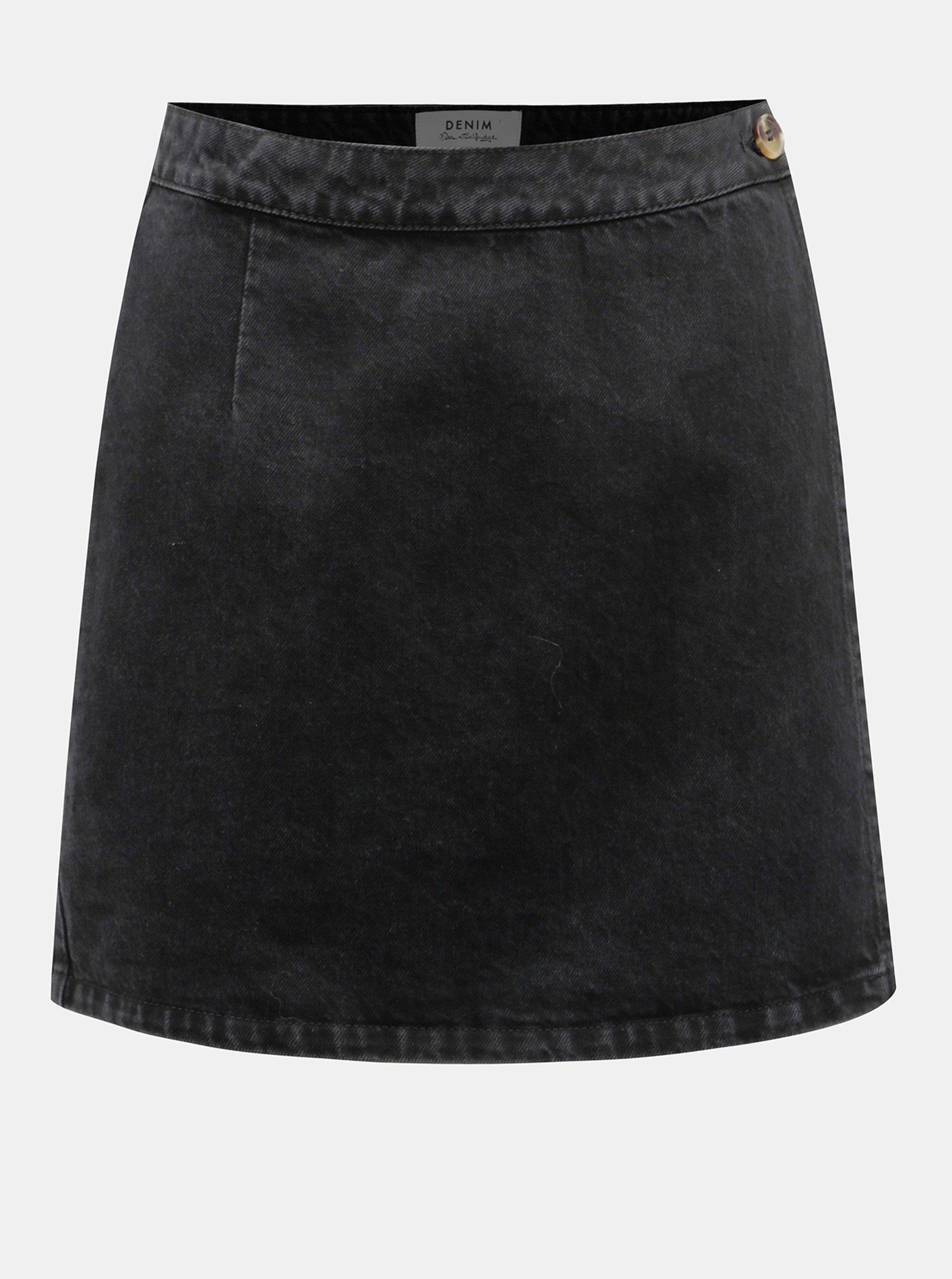 Černá džínová zavinovací sukně Miss Selfridge Miss Selfridge