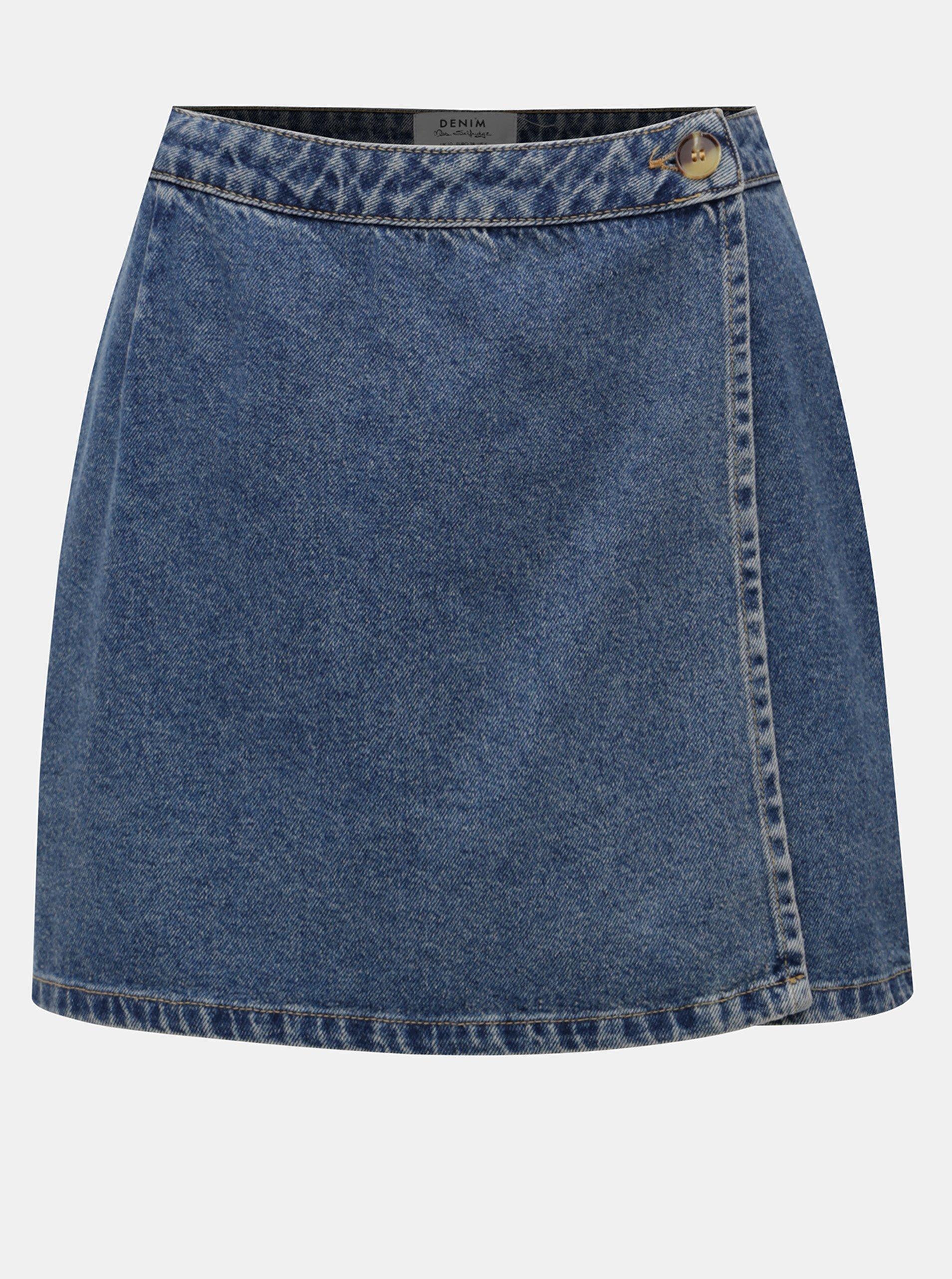 Modrá džínová zavinovací sukně Miss Selfridge Miss Selfridge