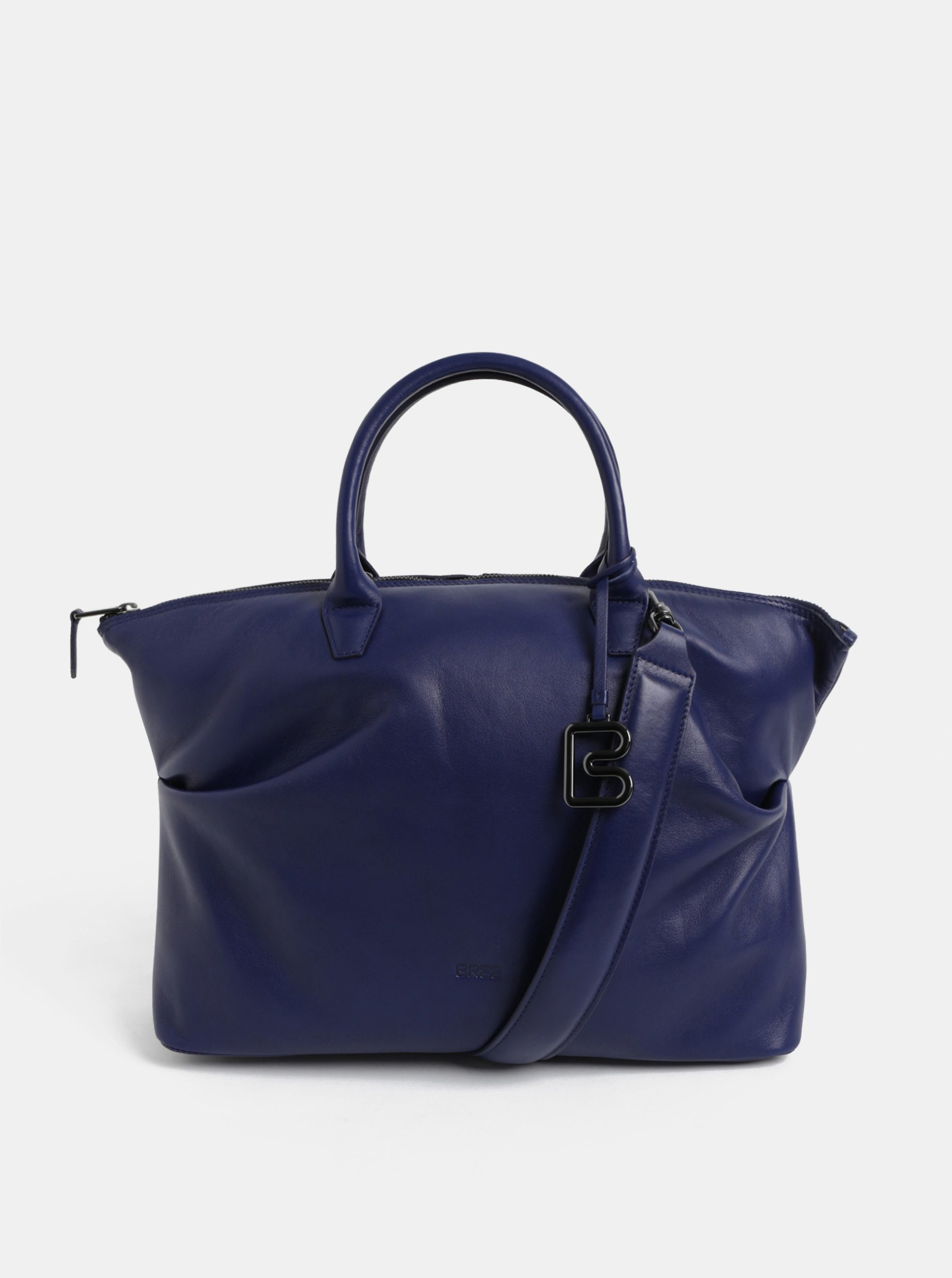 Modrá velká kožená kabelka do ruky BREE Stockholm 37