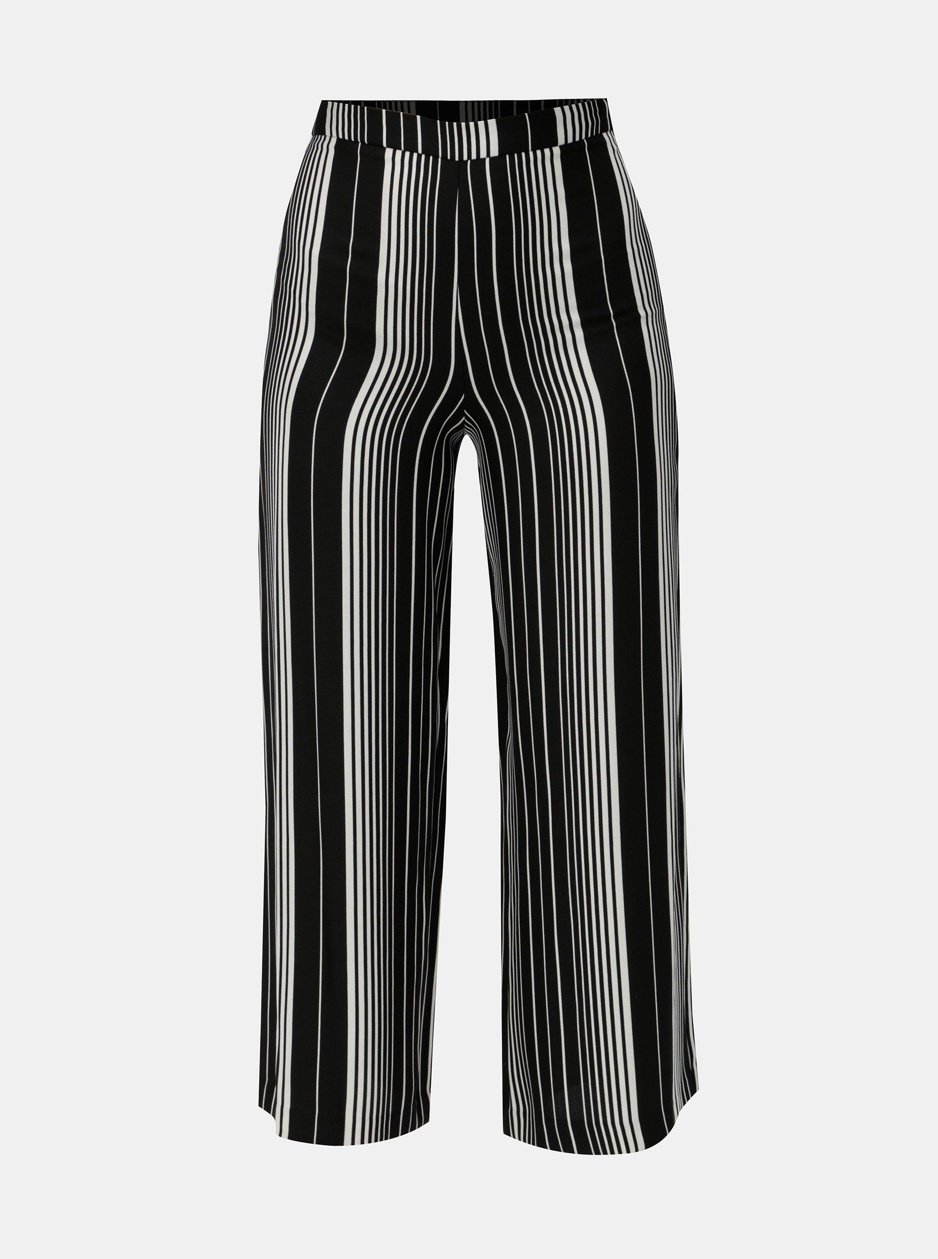 Bílo-černé pruhované volné kalhoty s vysokým pasem Miss Selfridge Petites